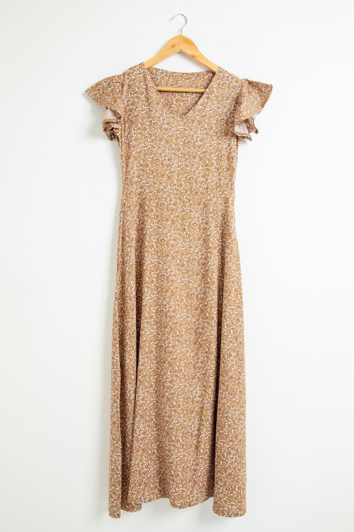 Çıtır Çiçek Desen Yanı Yırtmaçlı Elbise-Kahve