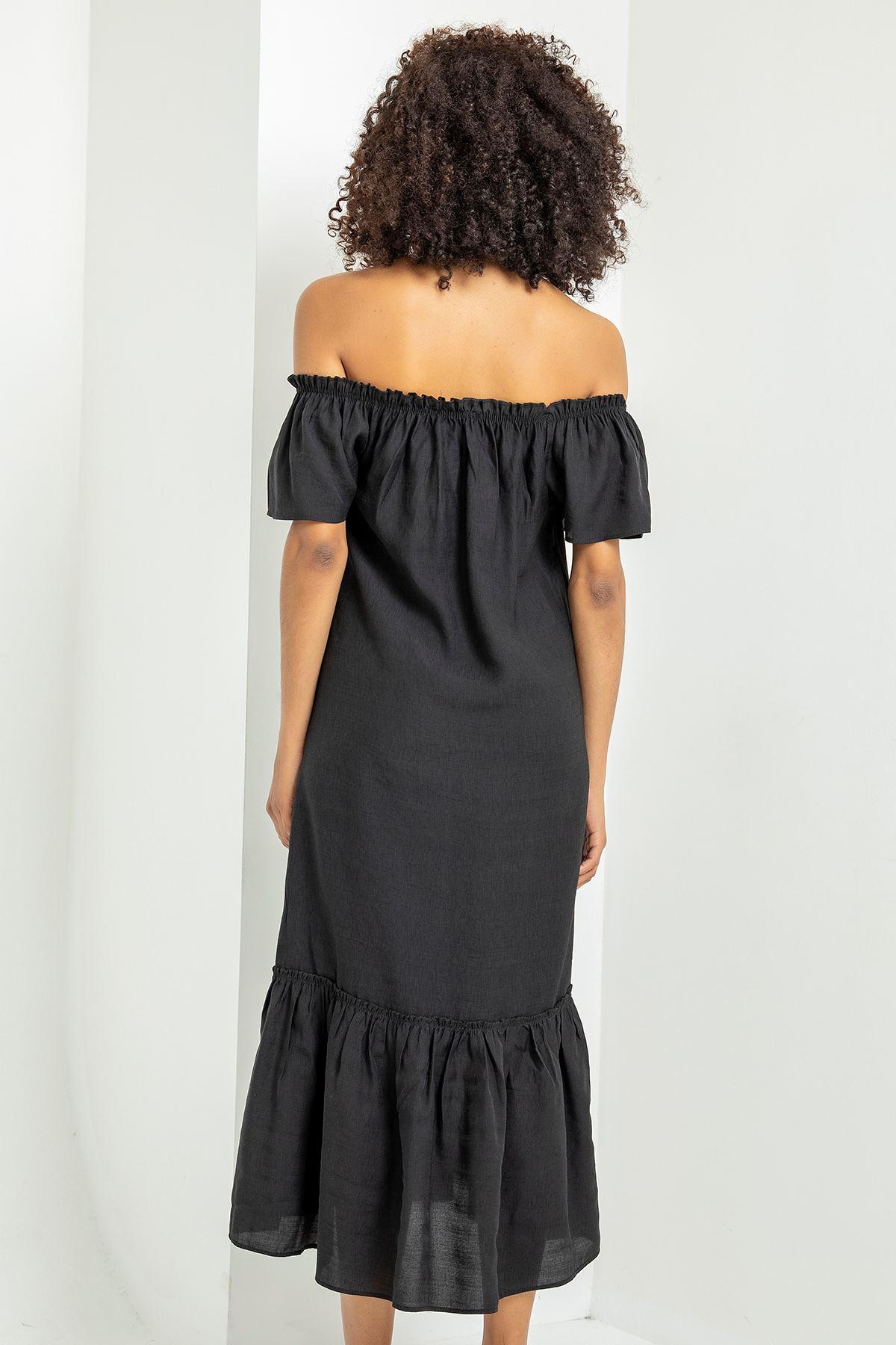 Madonna Yaka Eteği Fırfırlı Elbise-Siyah