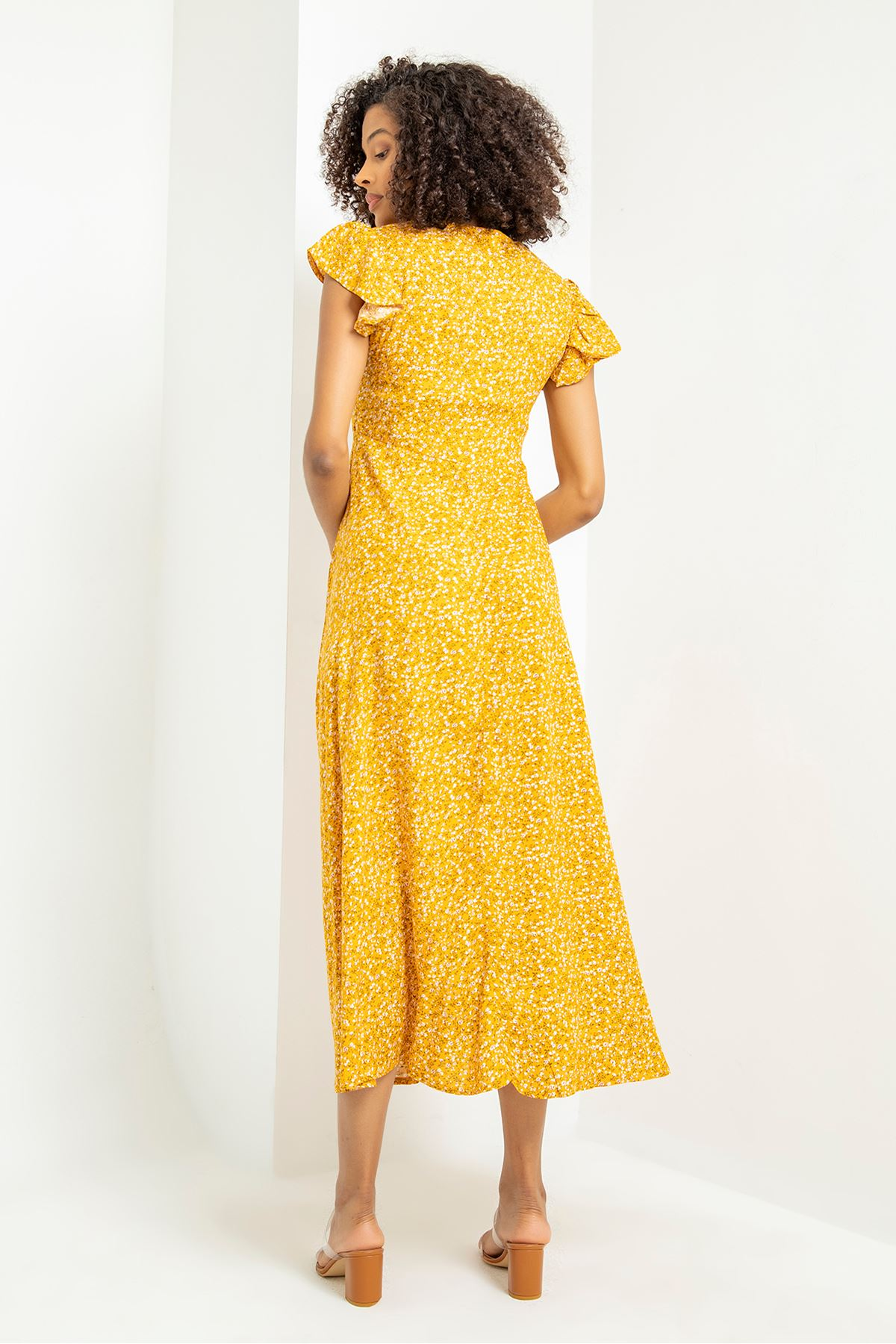Çıtır Çiçek Desen Yanı Yırtmaçlı Elbise-Hardal