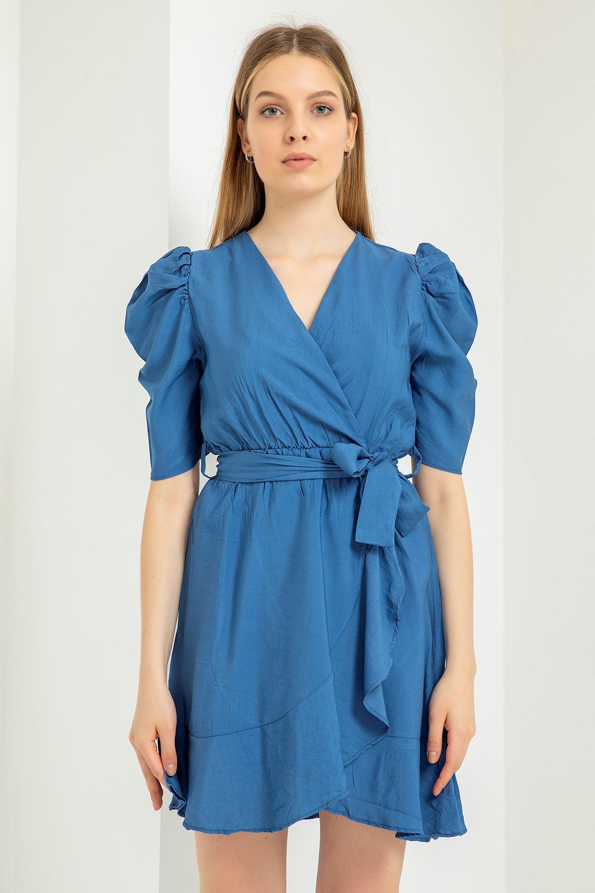 Eteği Fırfırlı Kemerli Elbise-İndigo
