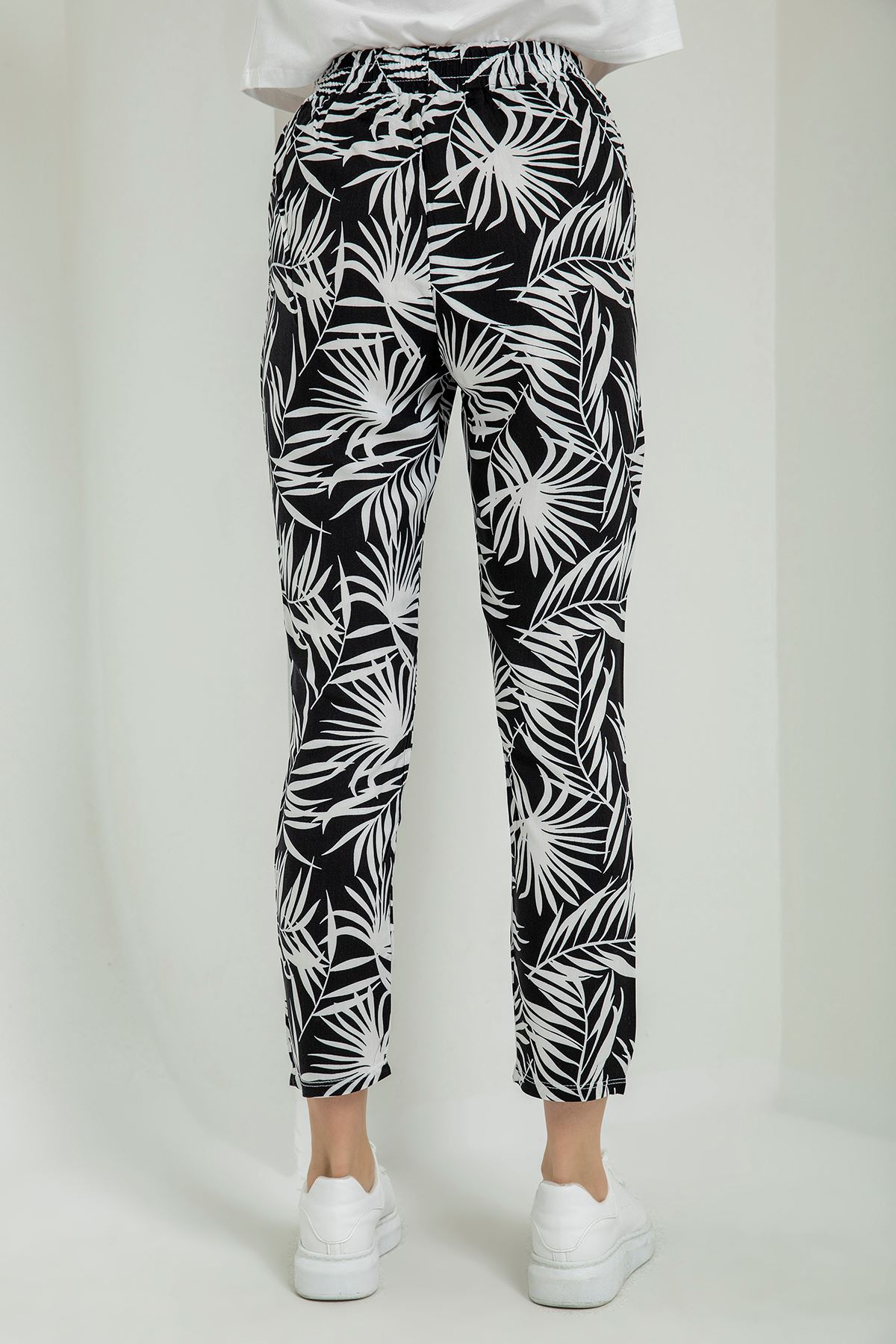 Palmiye Desenli Pantolon-Siyah