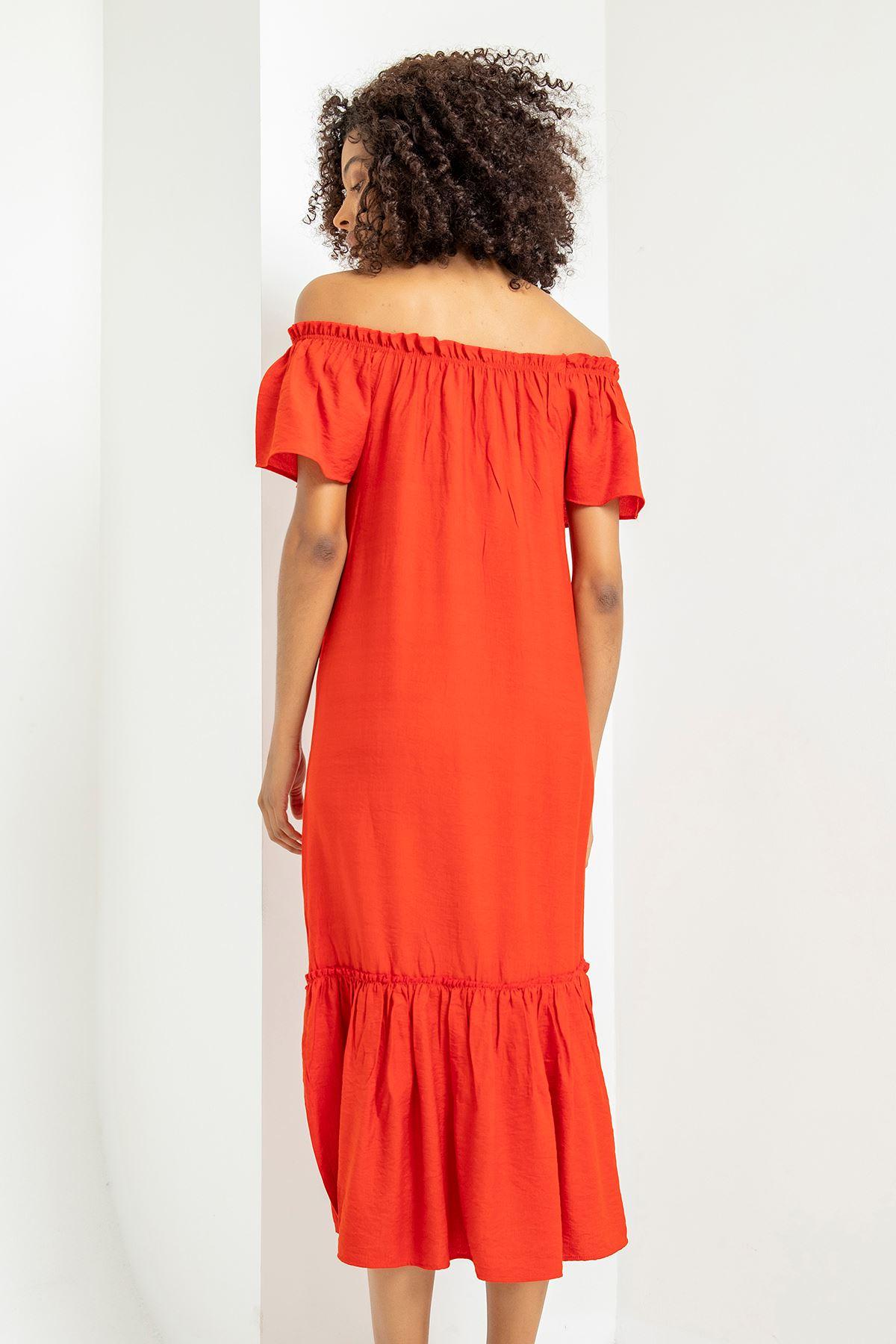 Madonna Yaka Eteği Fırfırlı Elbise-Kırmızı