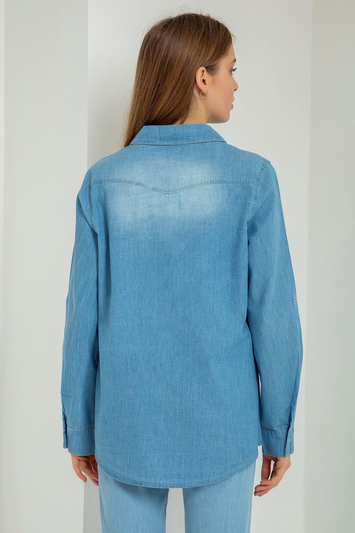 Battal Kot Gömlek-Mavi