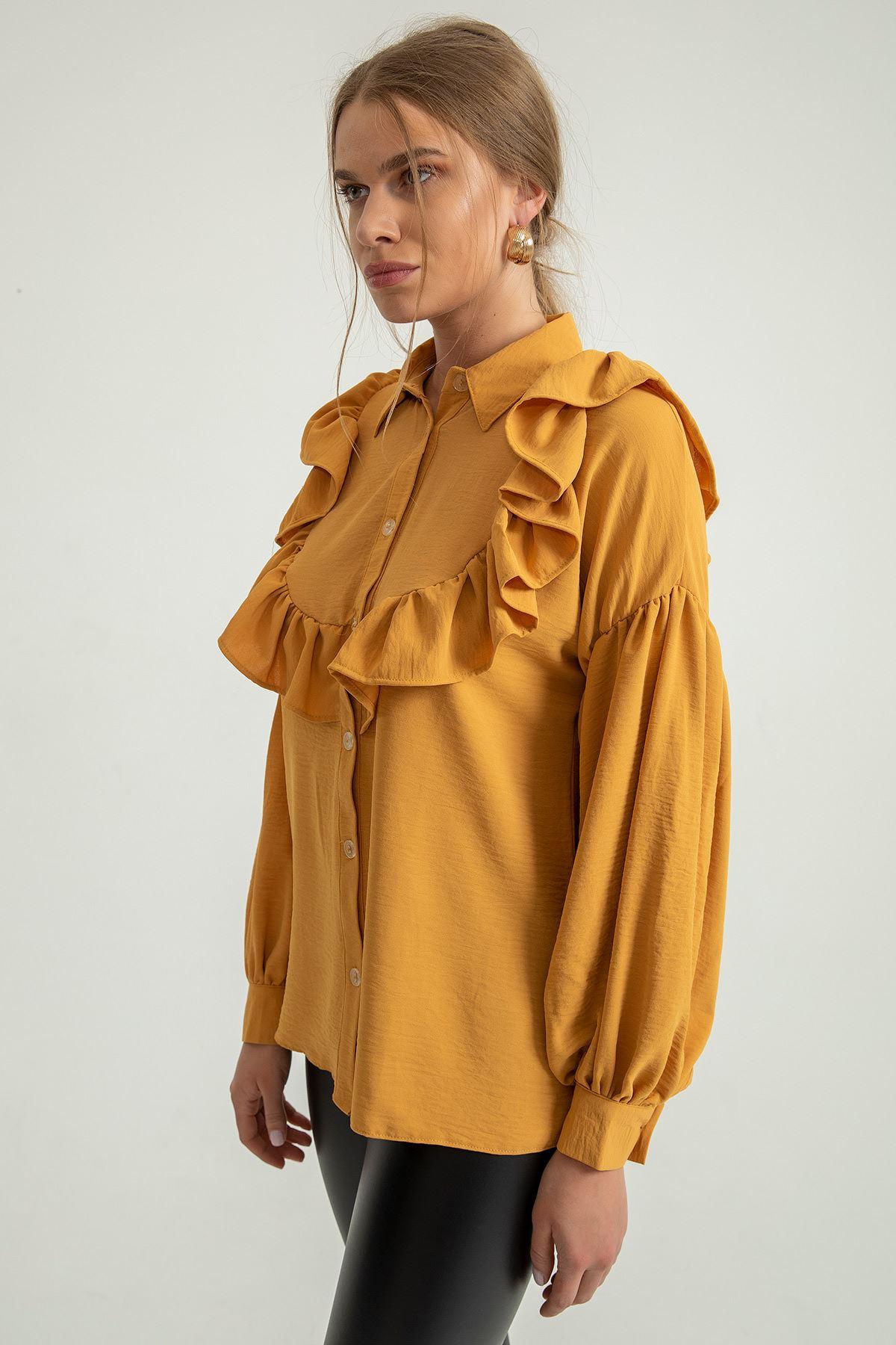 Volan Detay Gömlek-Hardal