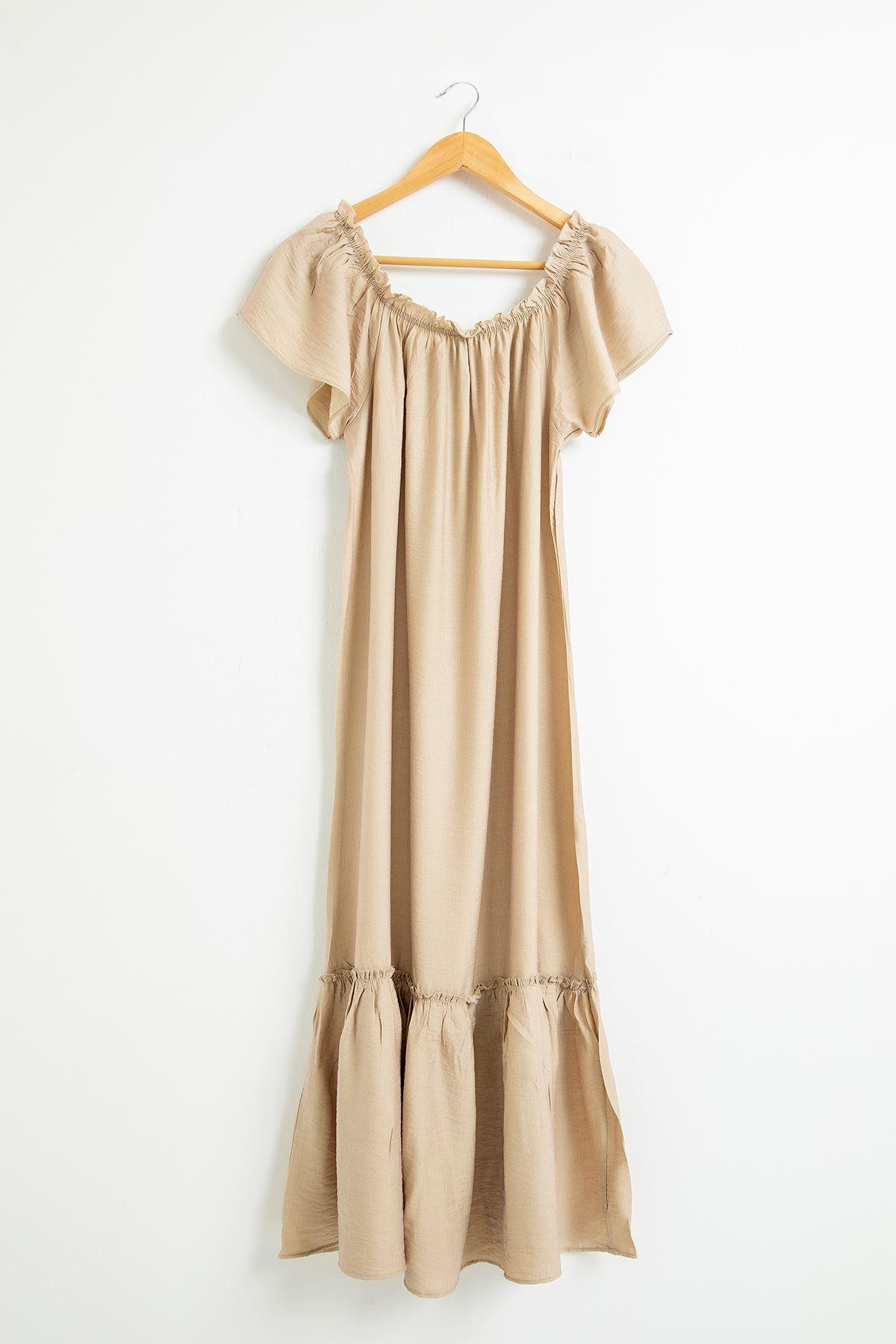 Madonna Yaka Eteği Fırfırlı Elbise-Taş