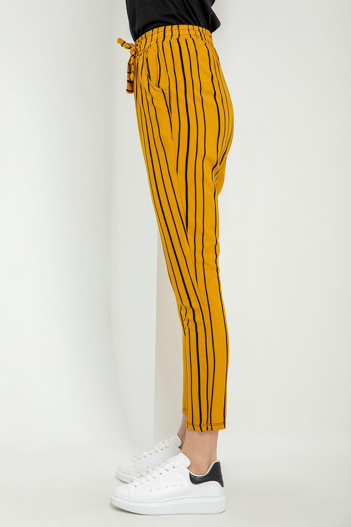 Çizgili Kuşaklı Pantolon-Hardal