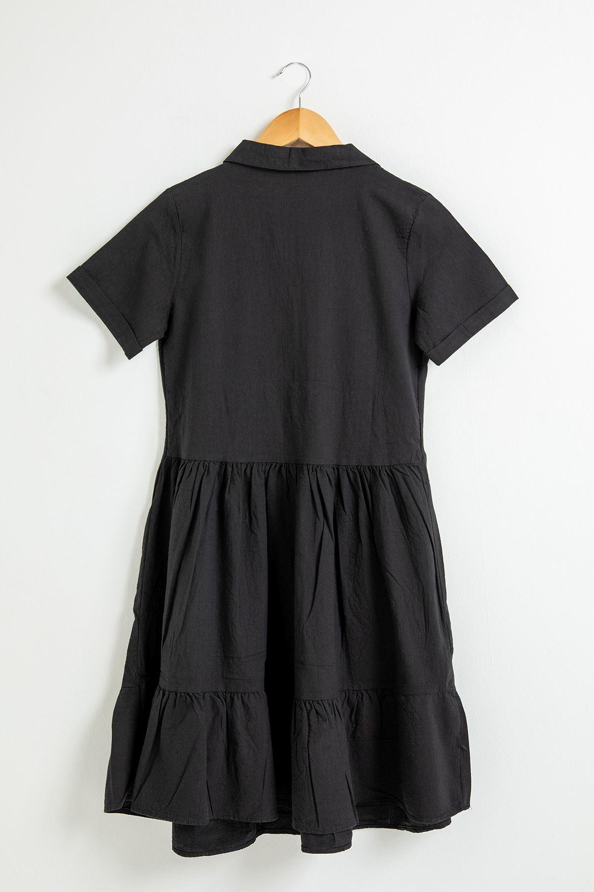 Eteği Fırfırlı Kısa Kol Elbise-Siyah