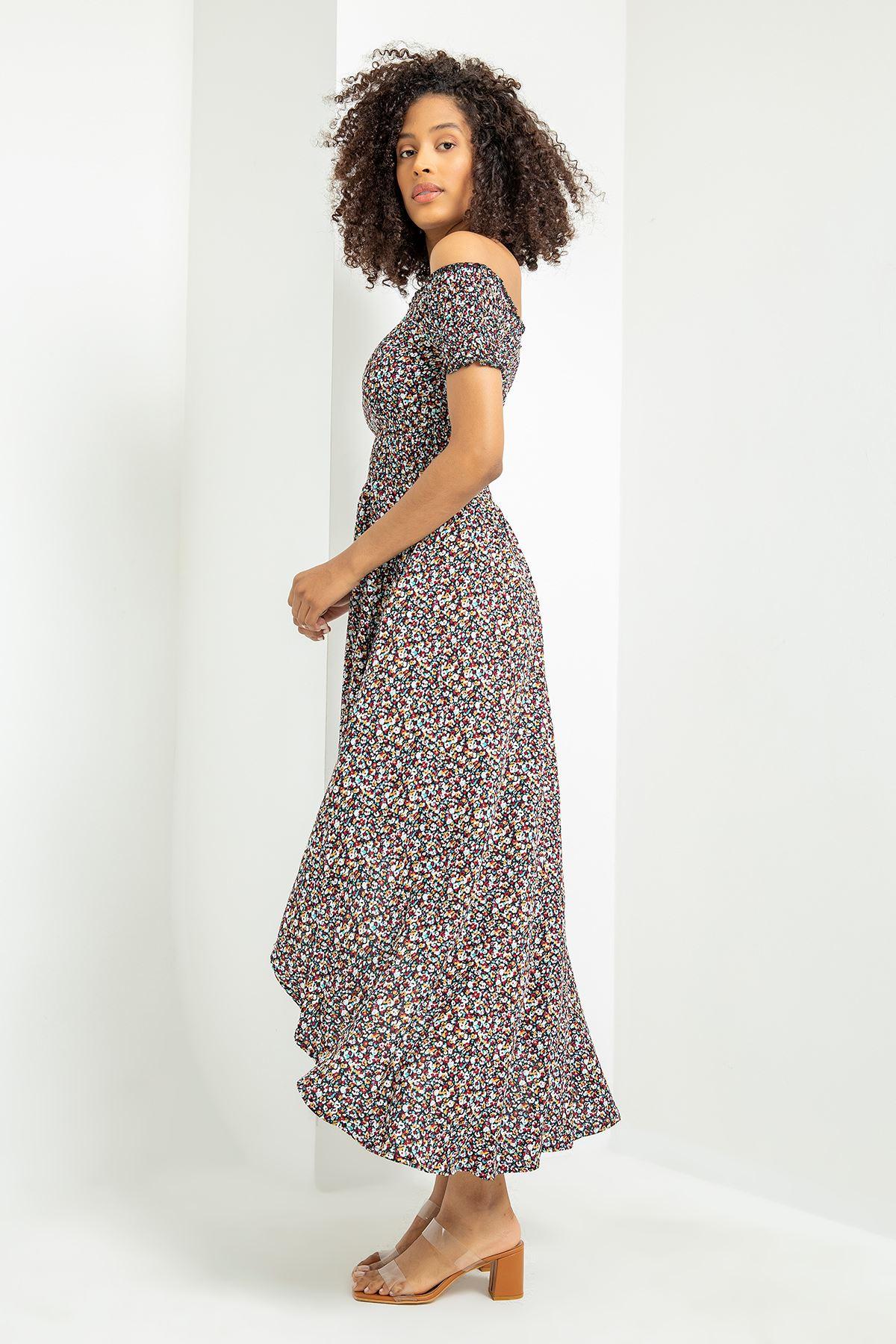 Gipeli Çıtır Çiçek Desen Elbise-Siyah