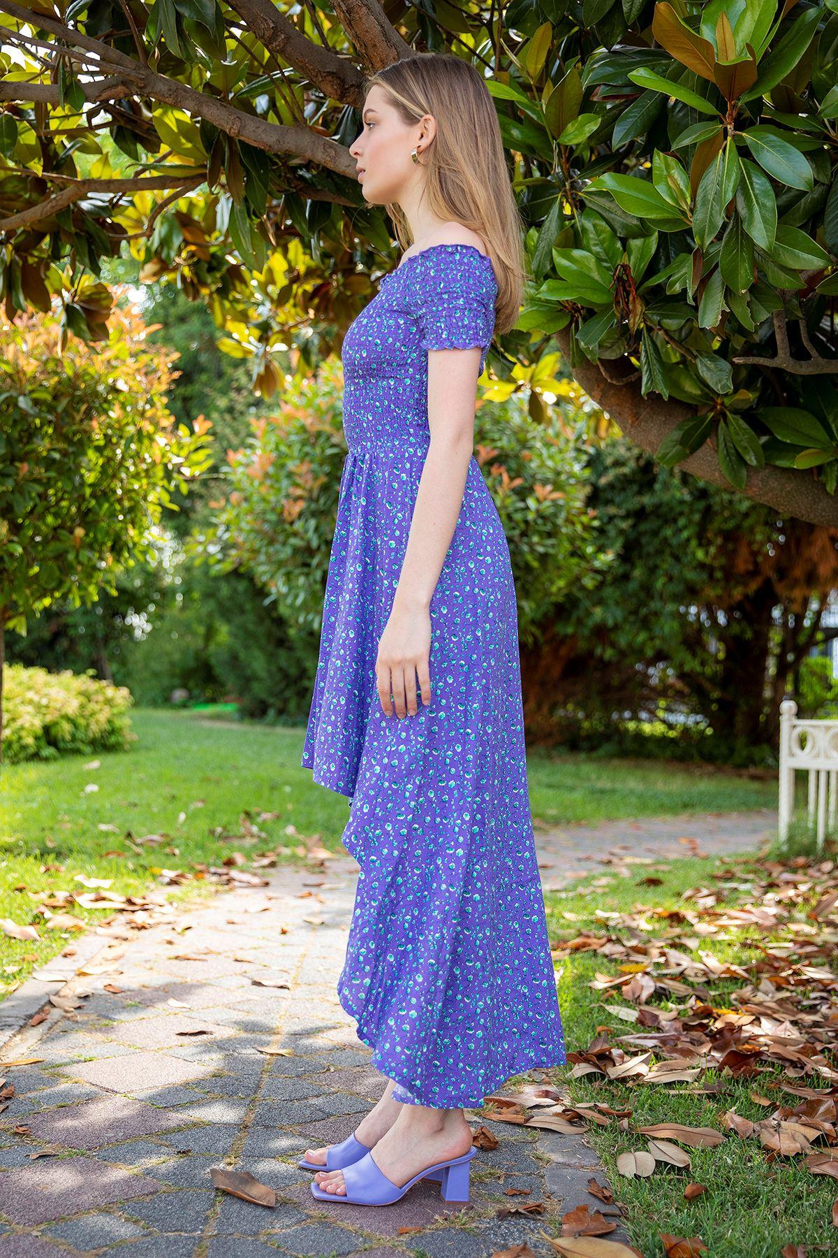 Gipeli Çıtır Çiçek Desen Elbise-Mürdüm