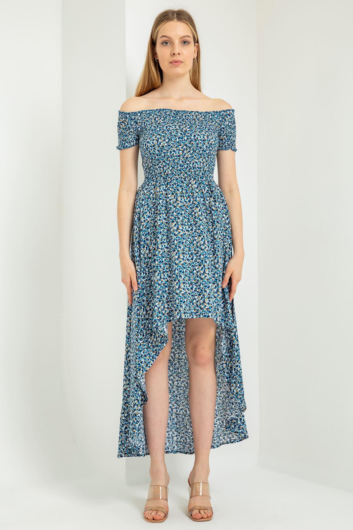 Gipeli Çıtır Çiçek Desen Elbise-İndigo