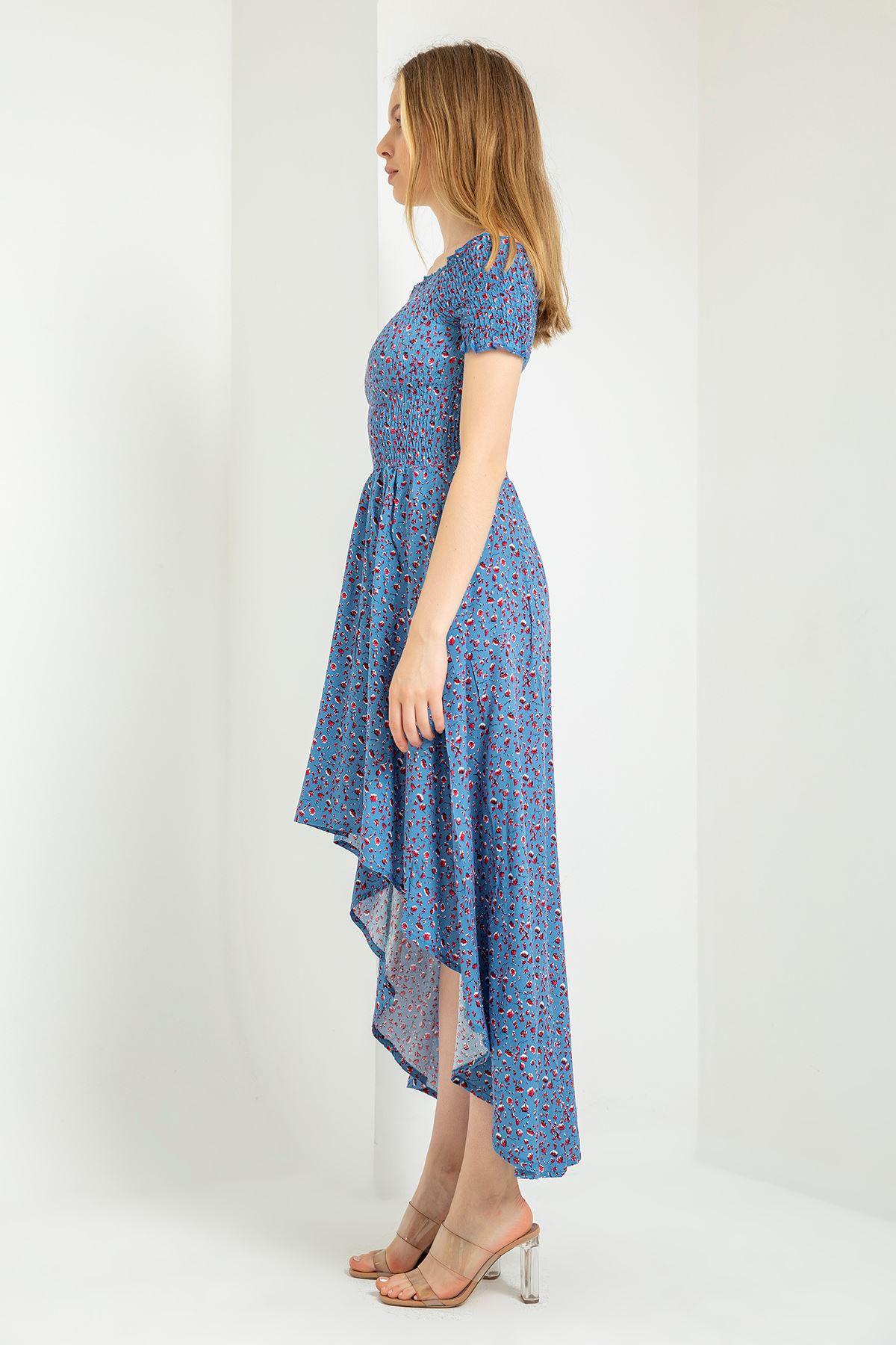 Gipeli Çıtır Çiçek Desen Elbise-Mavi