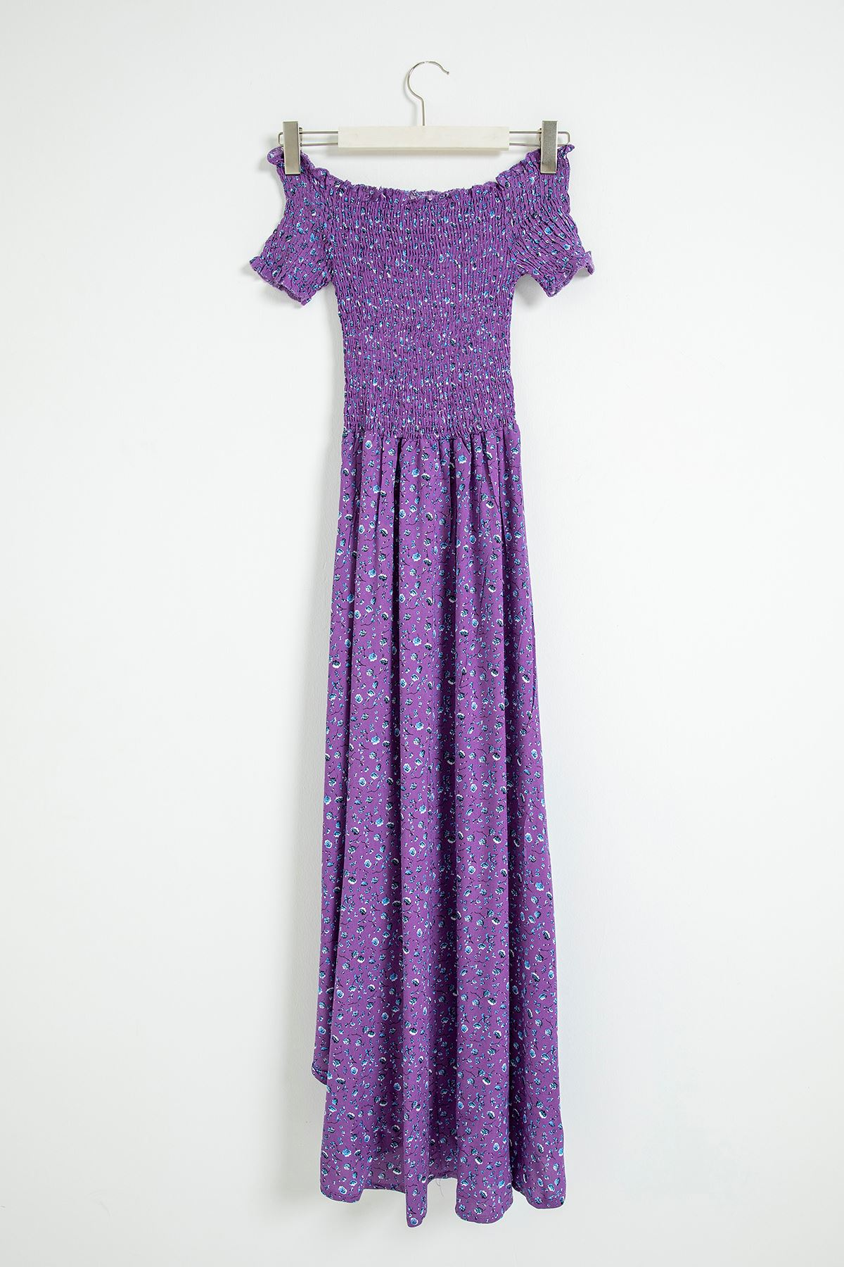 Gipeli Çıtır Çiçek Desen Elbise-Mor