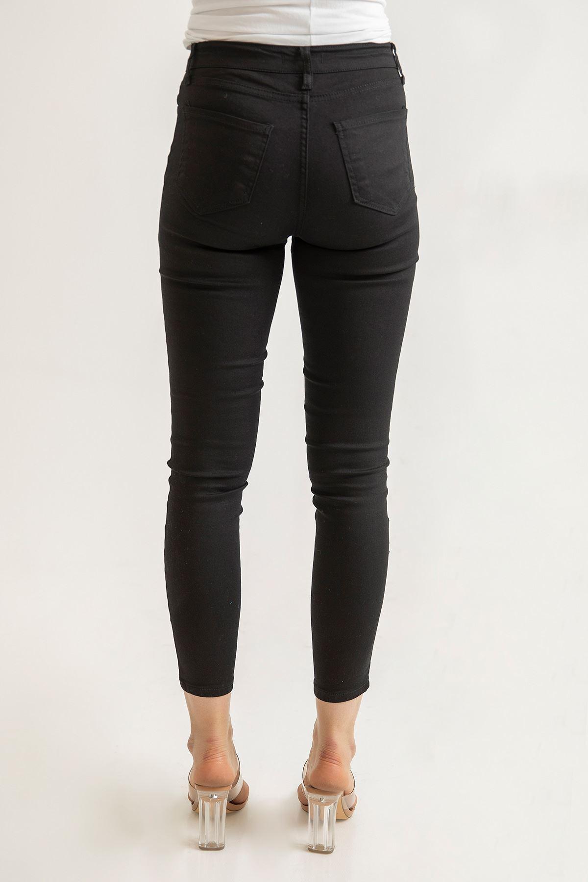 Siyah Cepli Skinny Jean Pantolon-Siyah