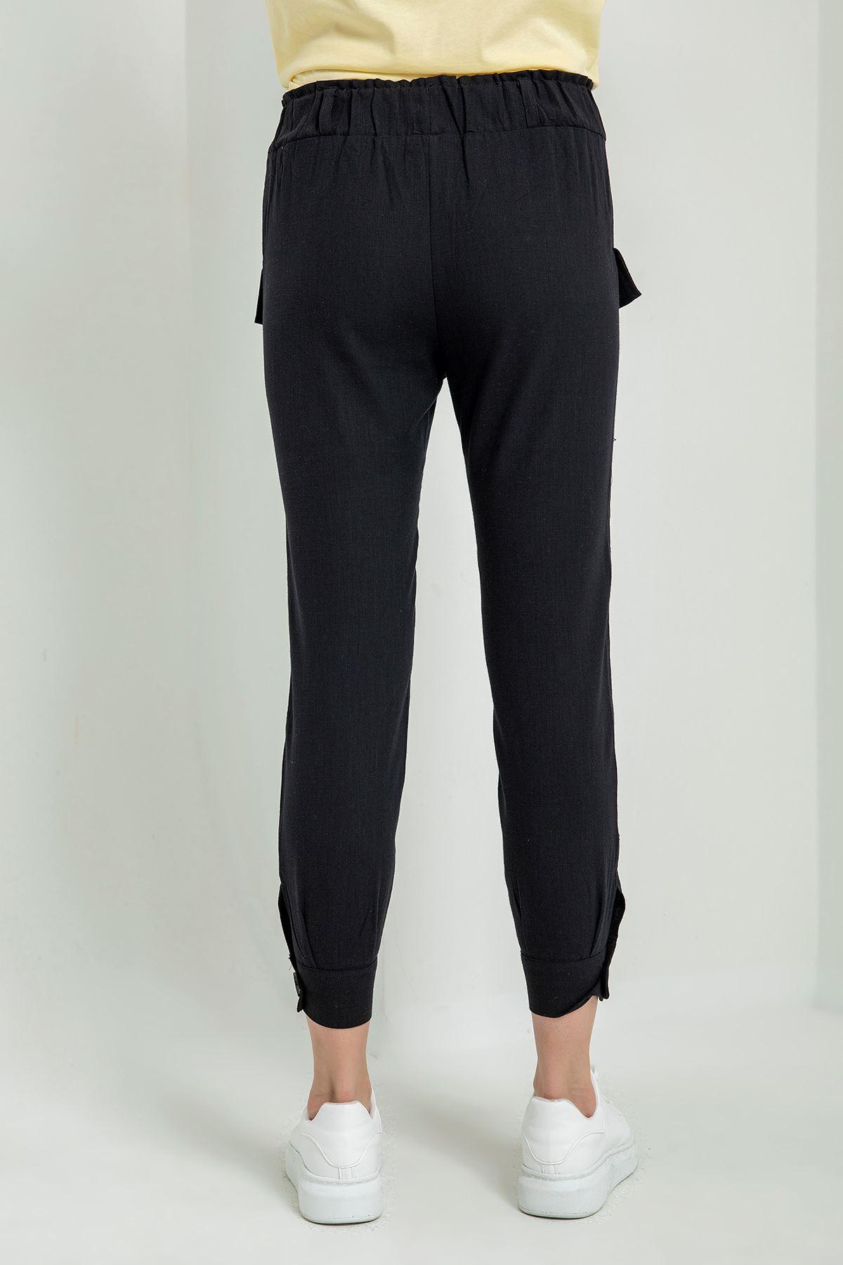 Beli Lastikli Keten Pantolon-Siyah