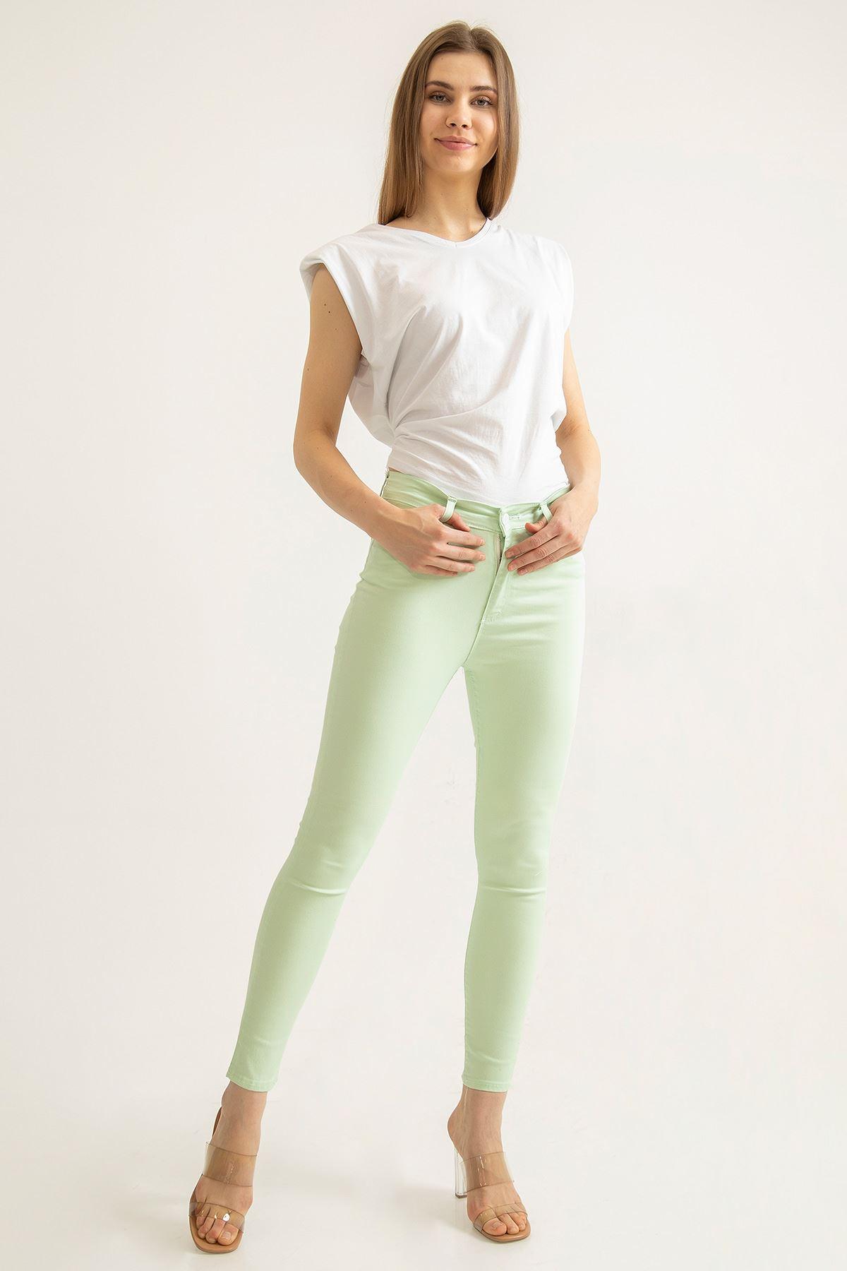 Cepli Düz Jean Pantolon-Fıstık Yeşili