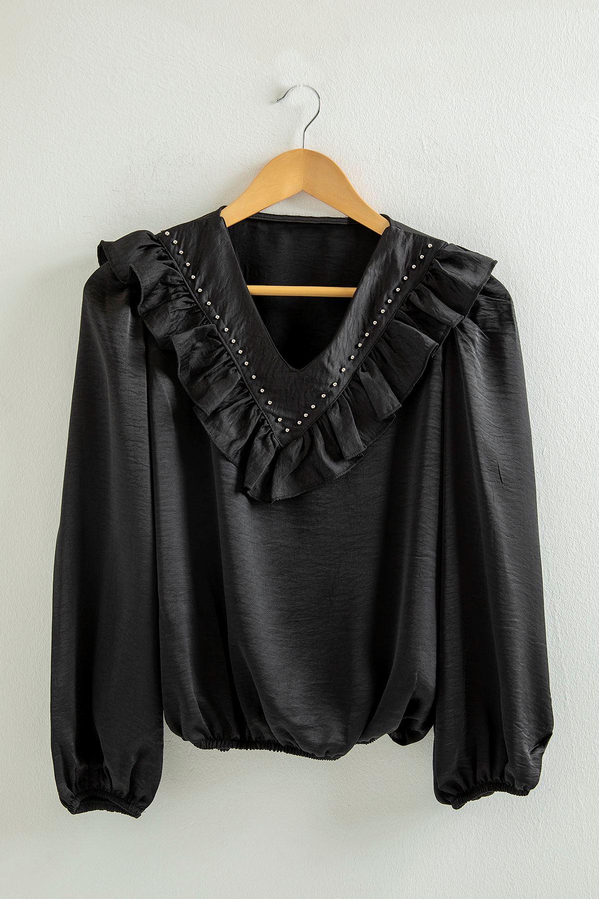 V Yaka Salaş Gömlek-Siyah