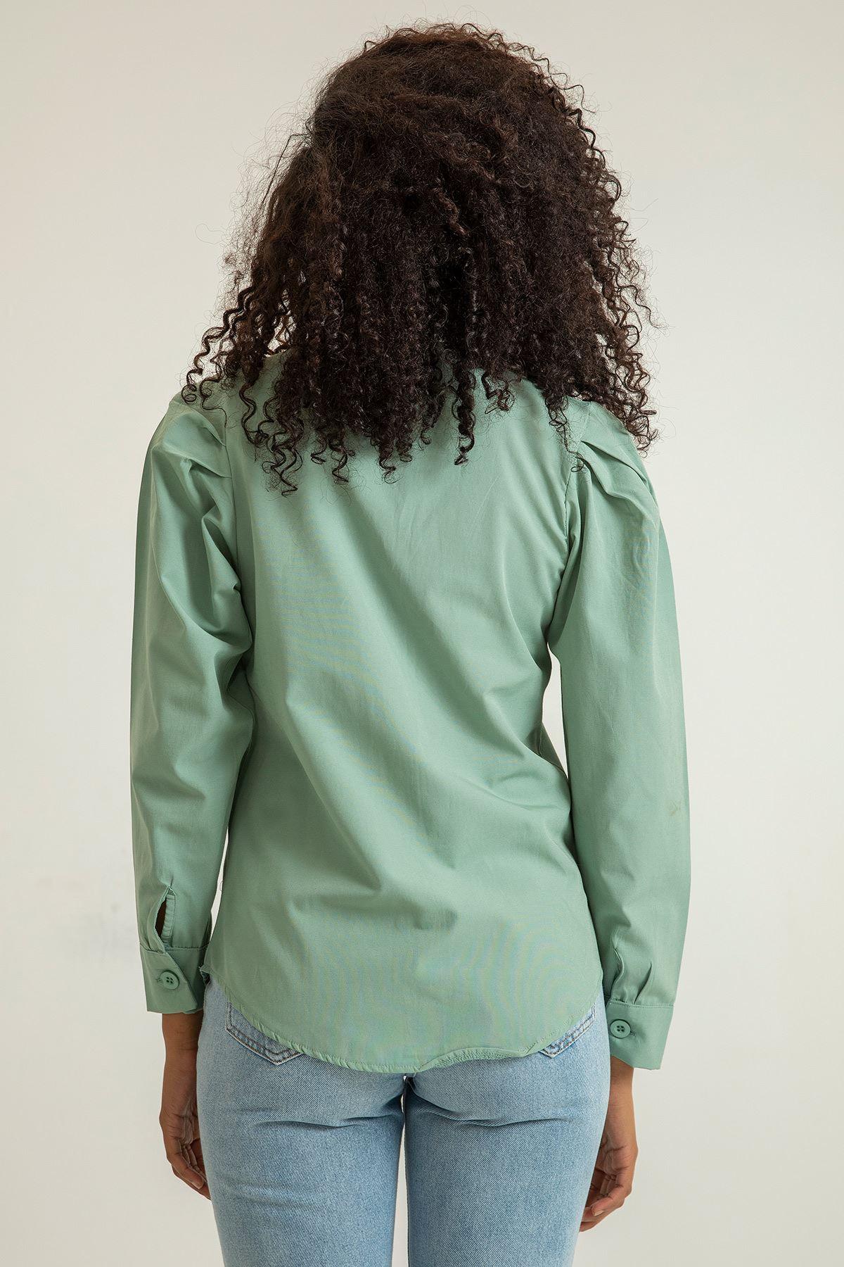 Kol Detay Gömlek-Mint