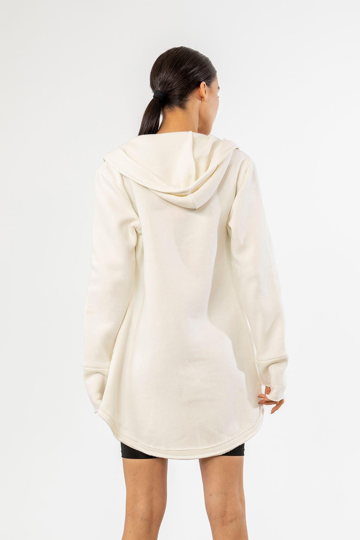 Fermuarlı Sweatshirt-Ekru