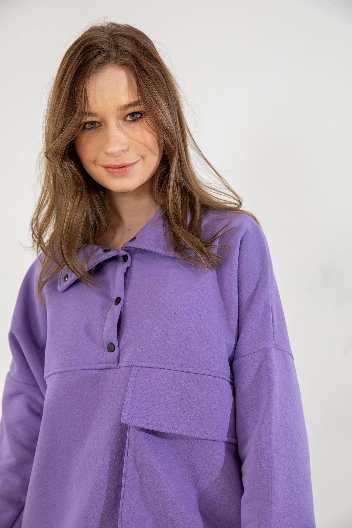 Cep Detay Sweatshirt-Lila