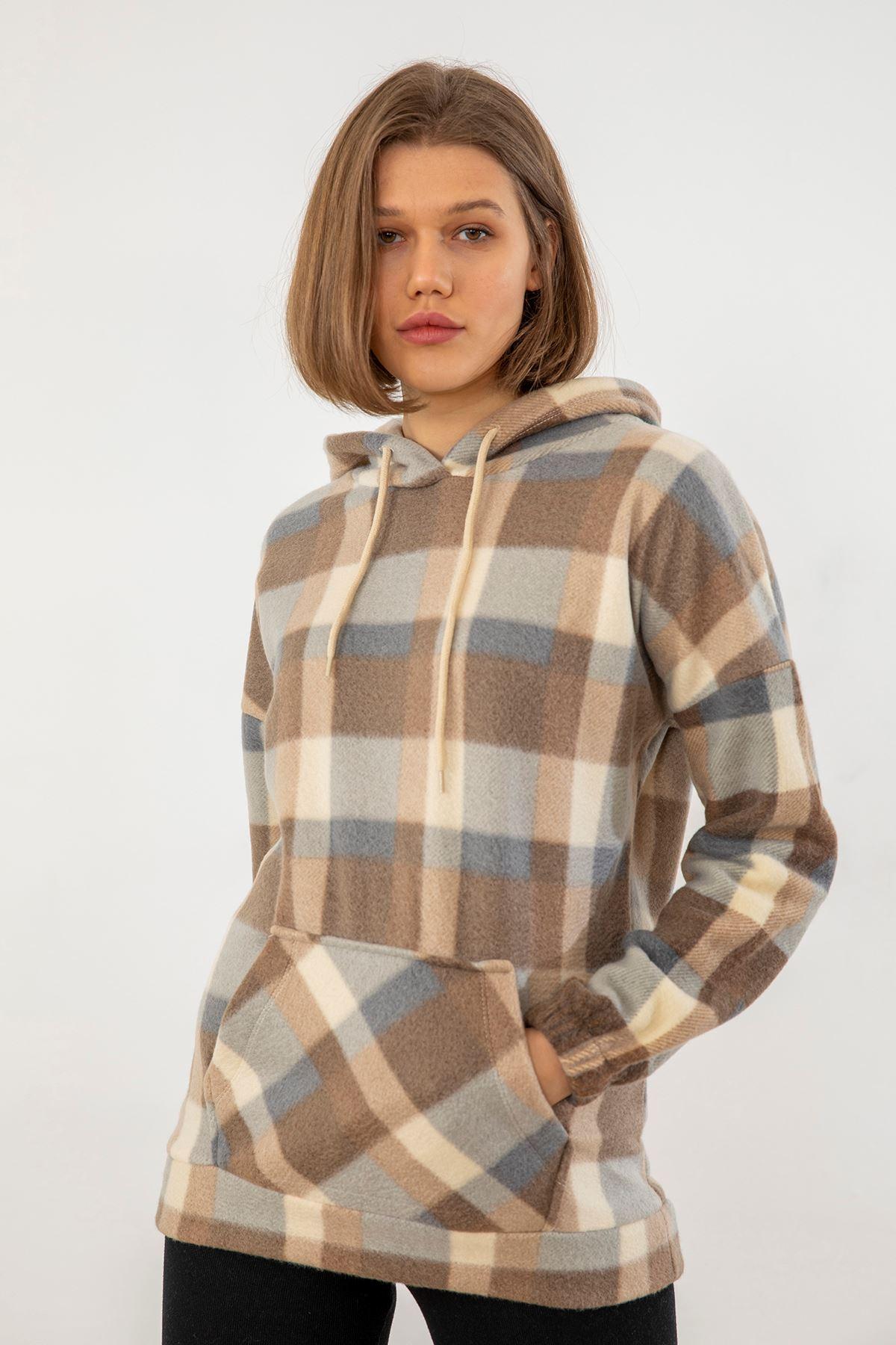 Kapşonlu Polar Sweatshirt-Bej