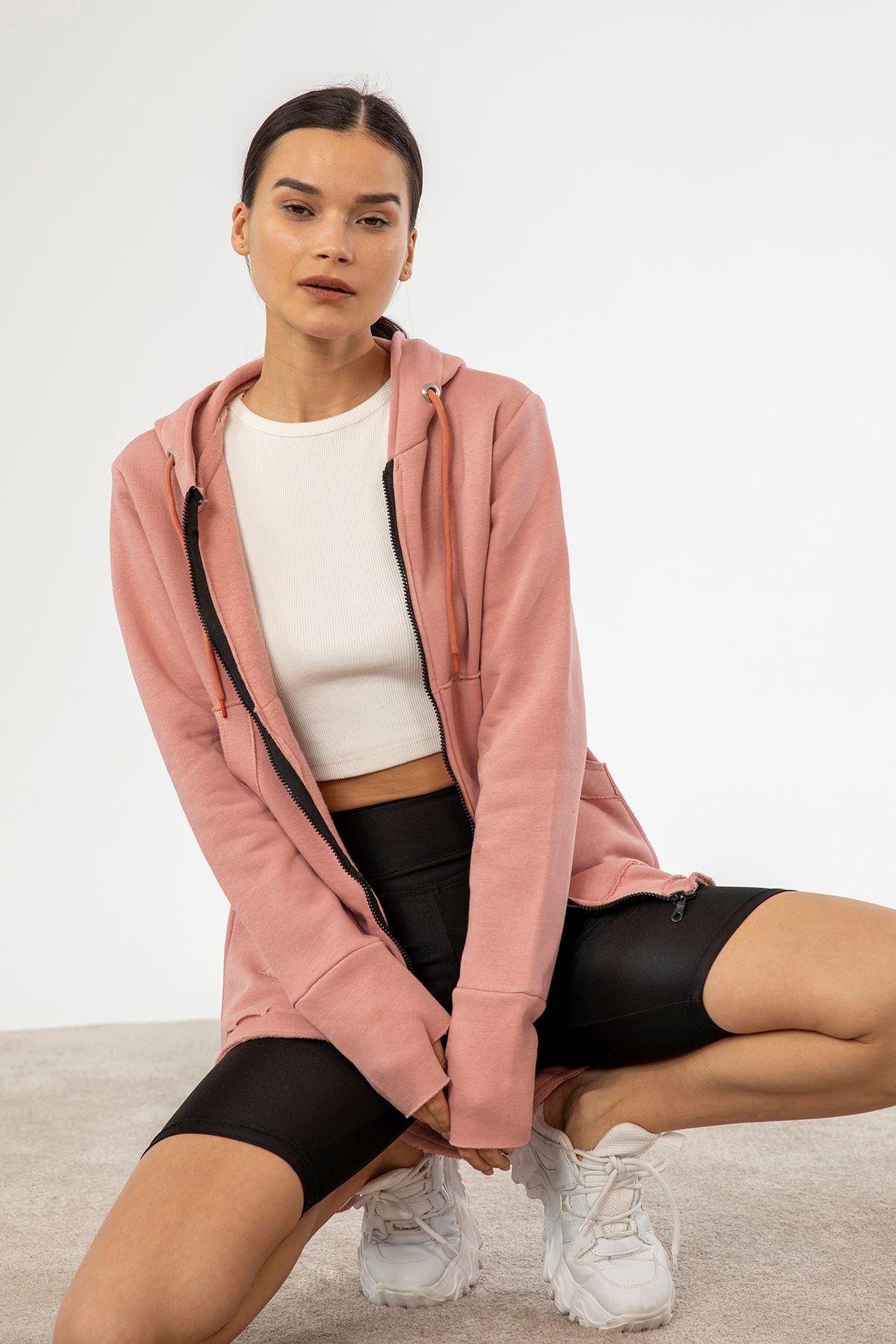 Fermuarlı Sweatshirt-Gül Kurusu