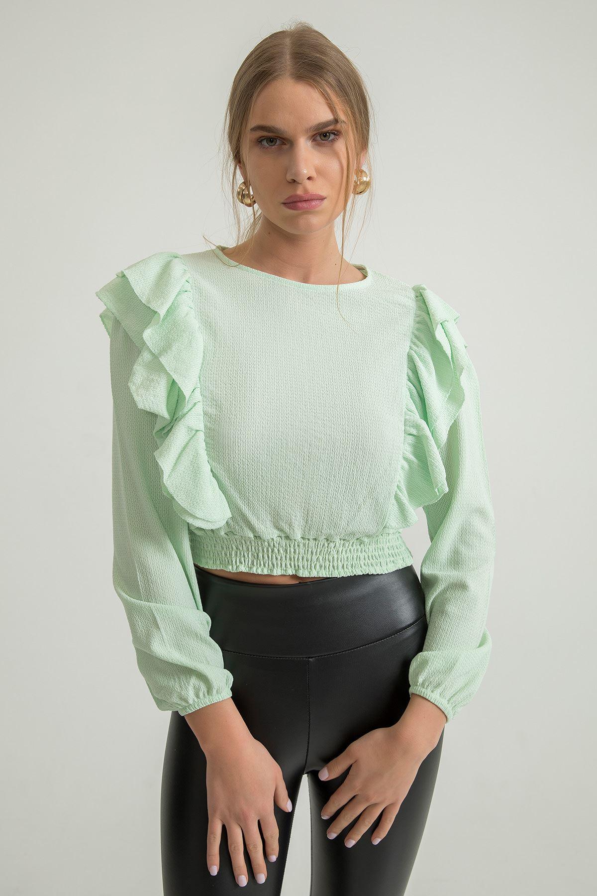 Fırfır Detay Bluz-Su Yeşili