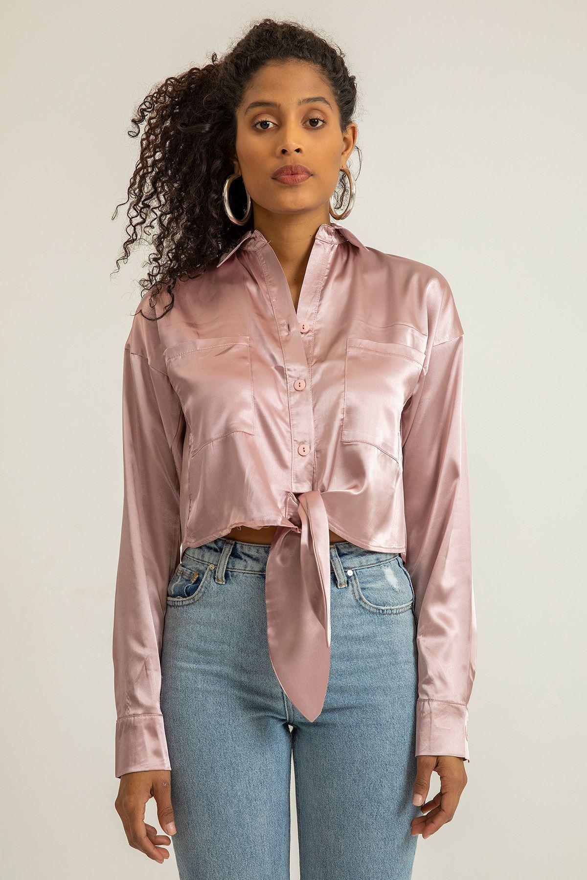Önü Bağlamalı Saten Gömlek-Gül Kurusu