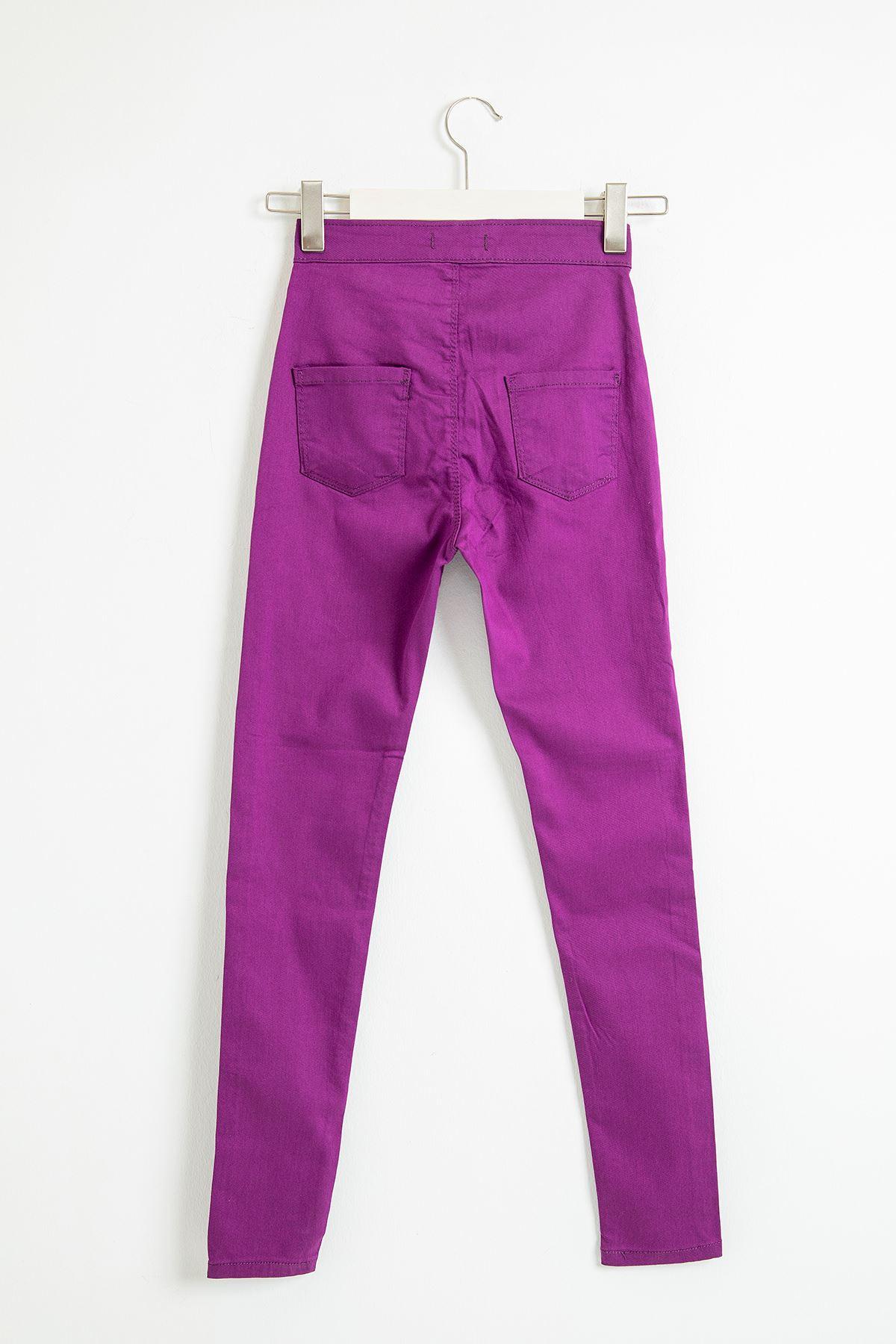Cepsiz Düz Skinny Jean Pantolon-Mor