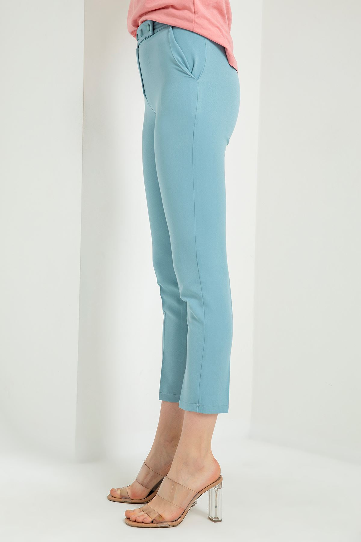 Beli Çıtçıtlı Kumaş Pantolon-Bebemavi