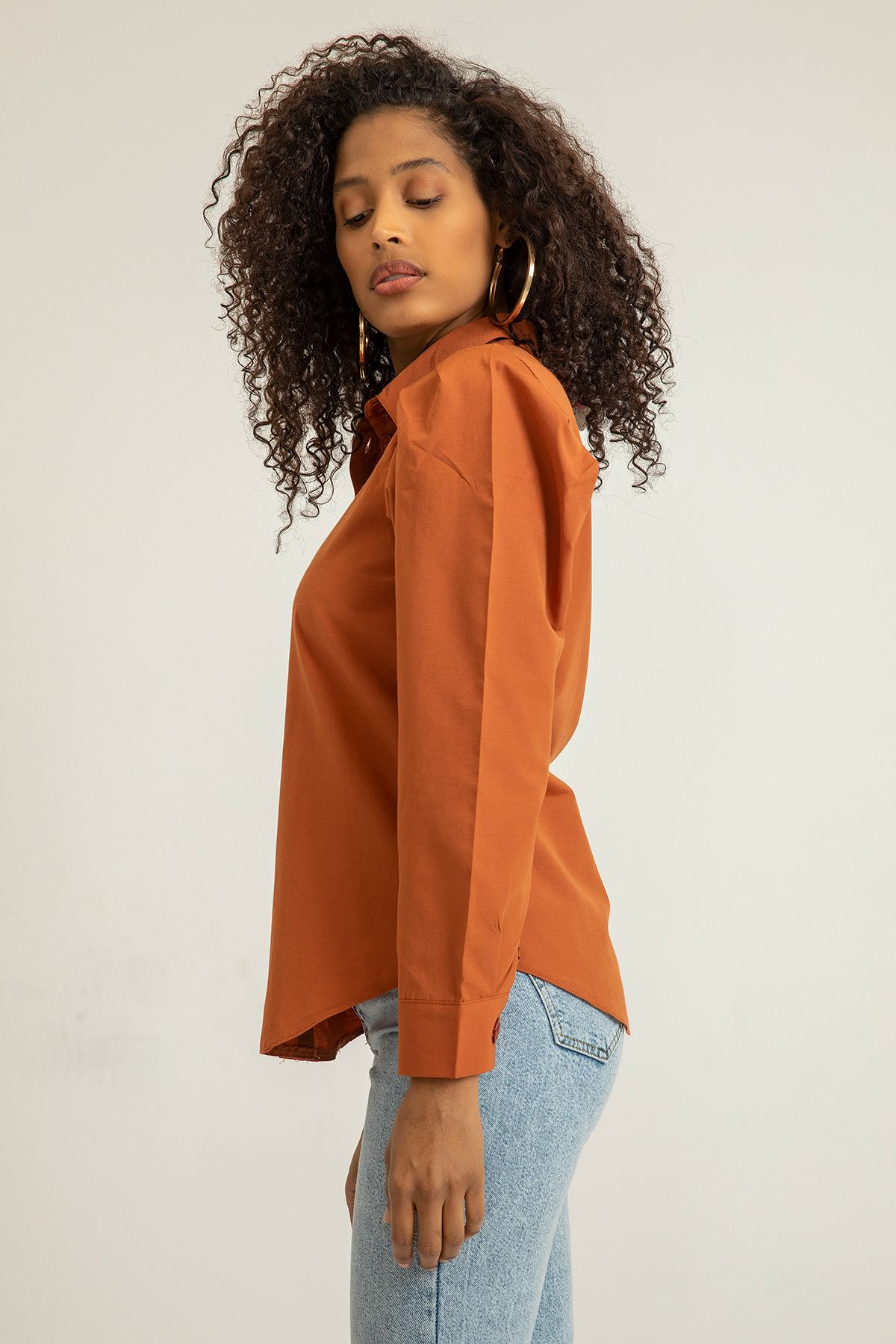 Kol Detay Gömlek-Kiremit