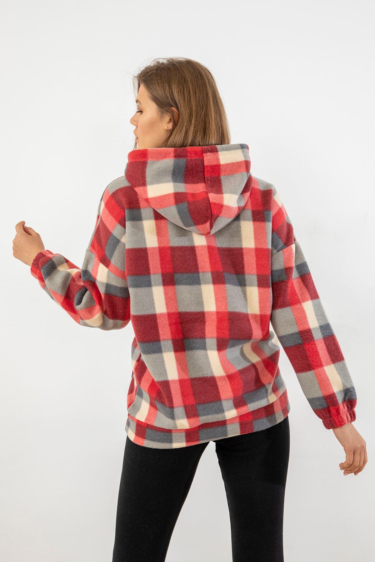 Kapşonlu Polar Sweatshirt-Kırmızı