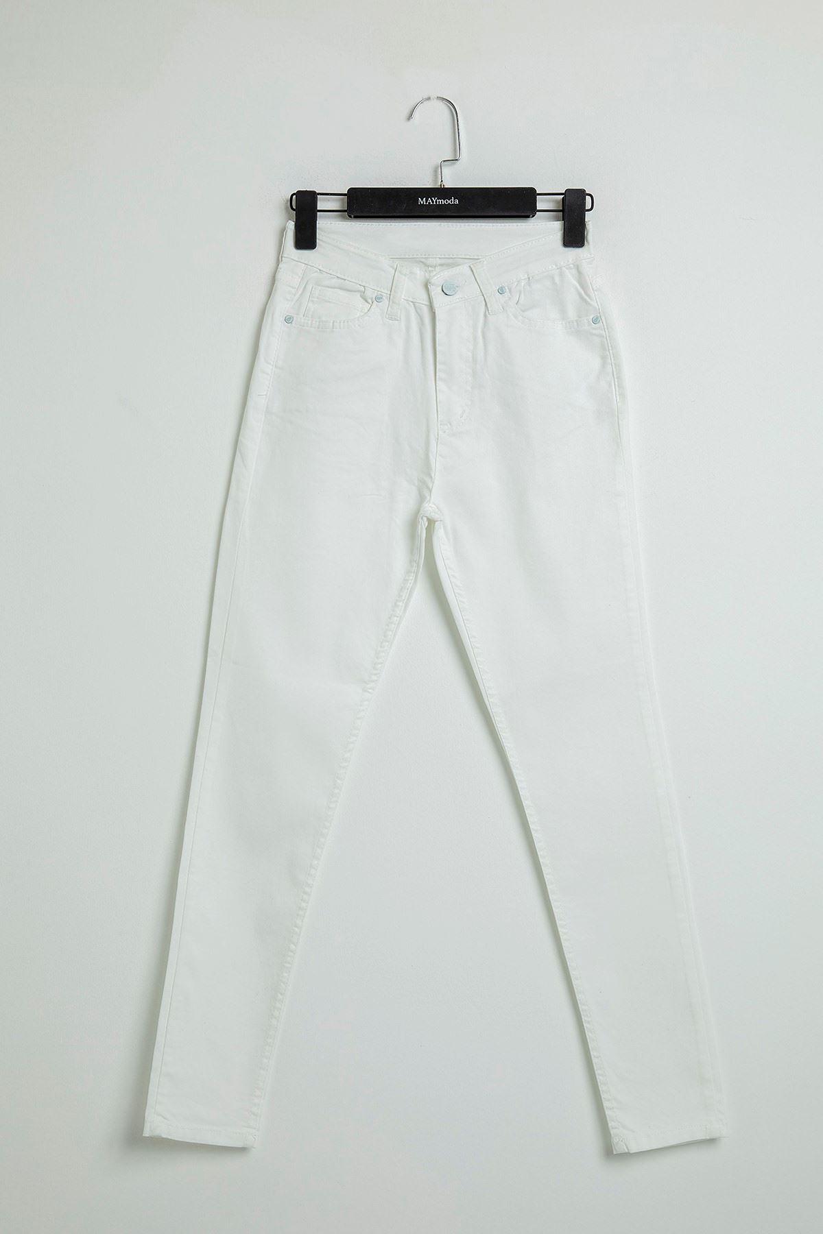 Beyaz Skinny Cepli Jean Pantolon-Beyaz