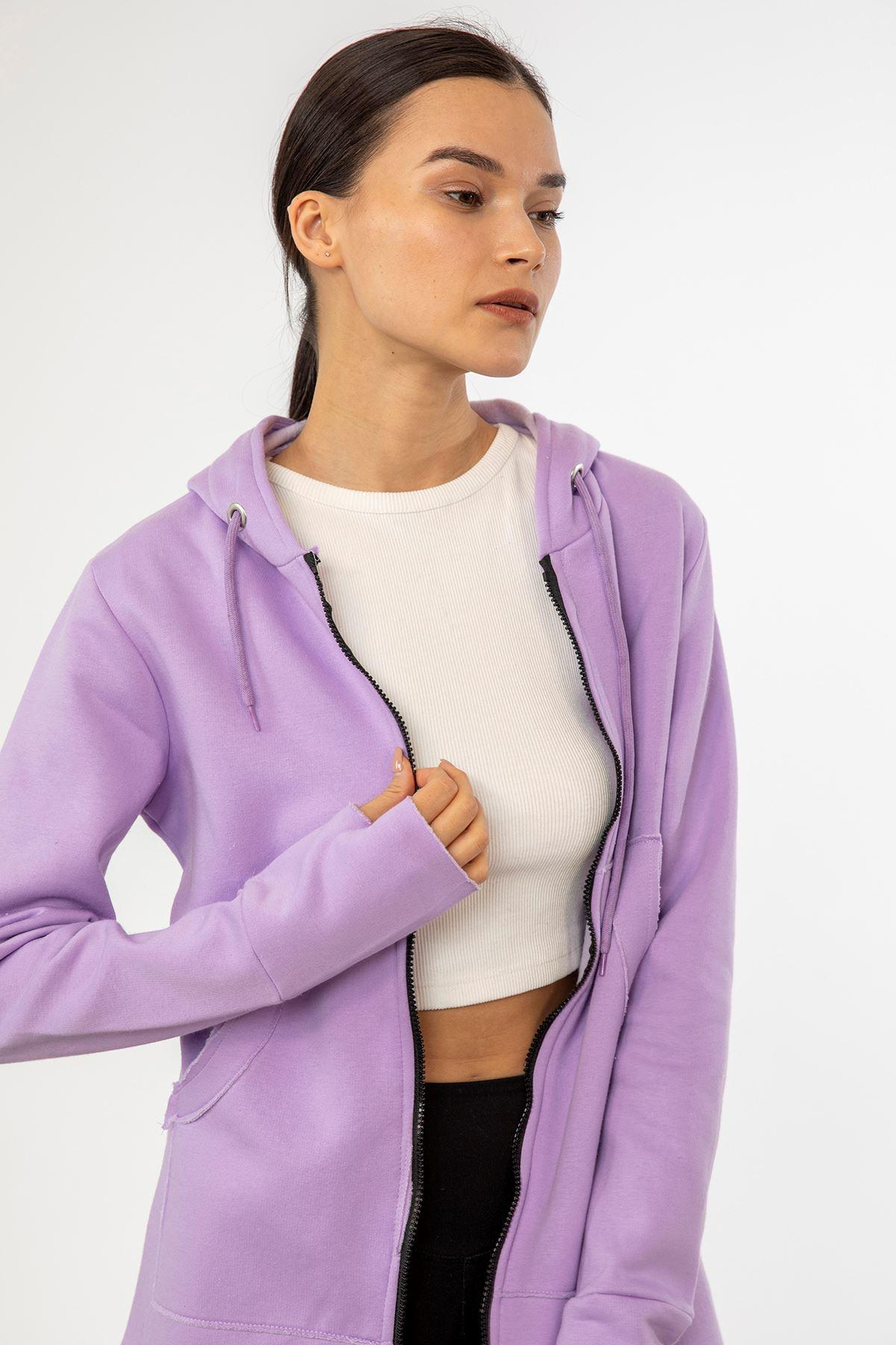 Fermuarlı Sweatshirt-Lila