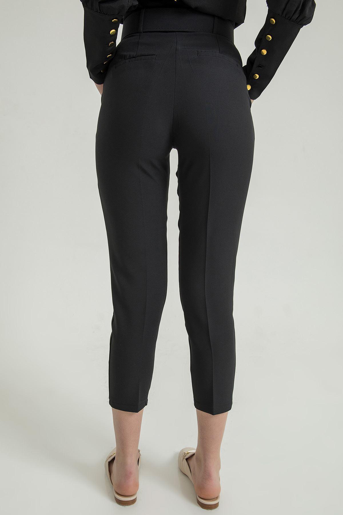 Kemerli Pantolon-Siyah