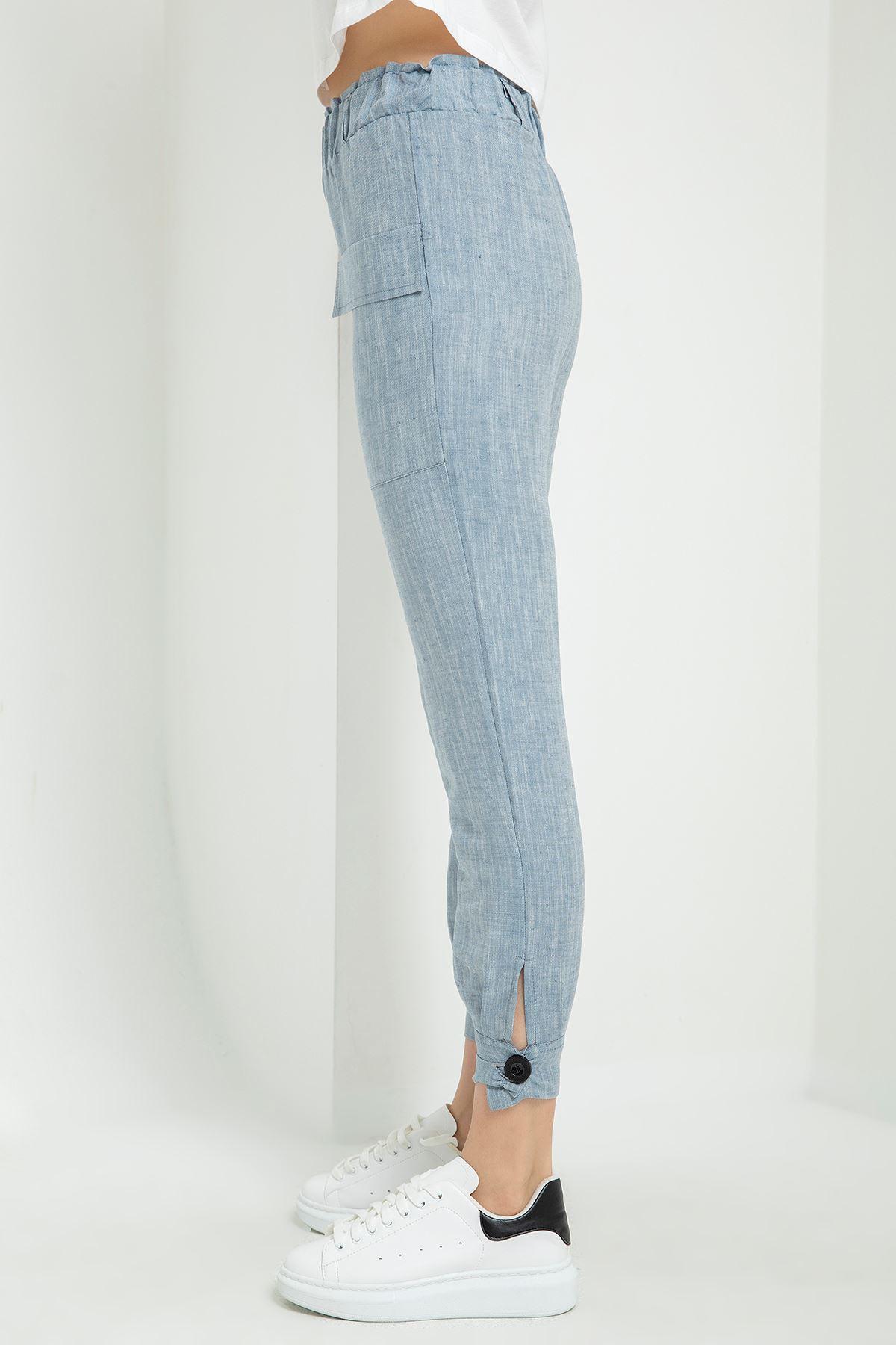 Beli Lastikli Keten Pantolon-Mavi