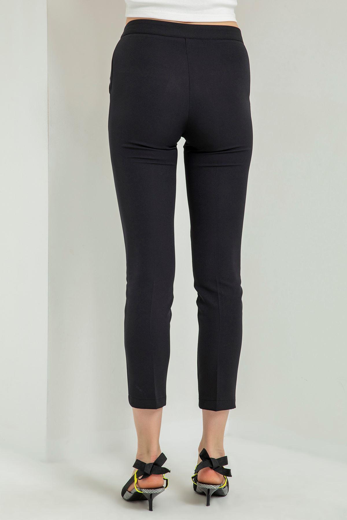 Beli Çıtçıtlı Kumaş Pantolon-Siyah