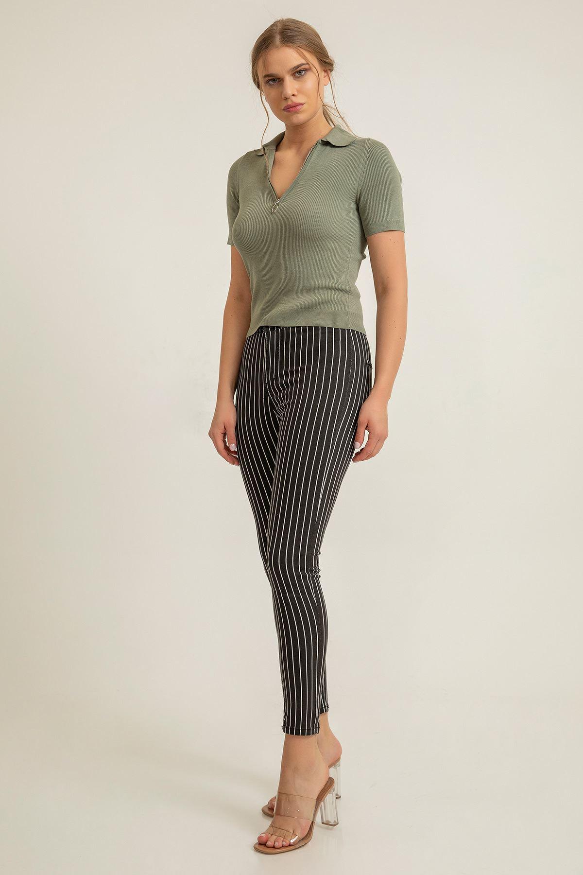 Yüksek Bel Çizgili Skinny Jean-Siyah
