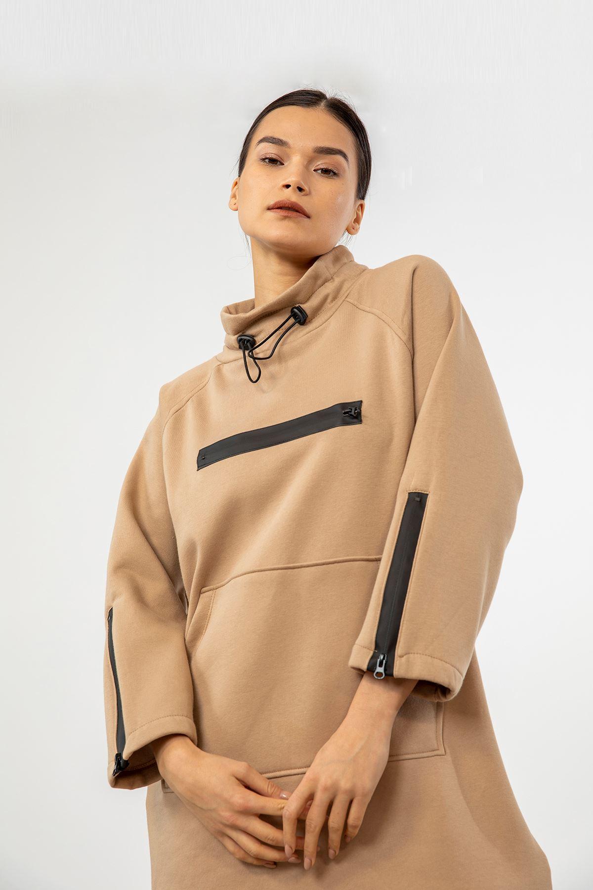 Fermuar Detay Sweatshirt-Bej