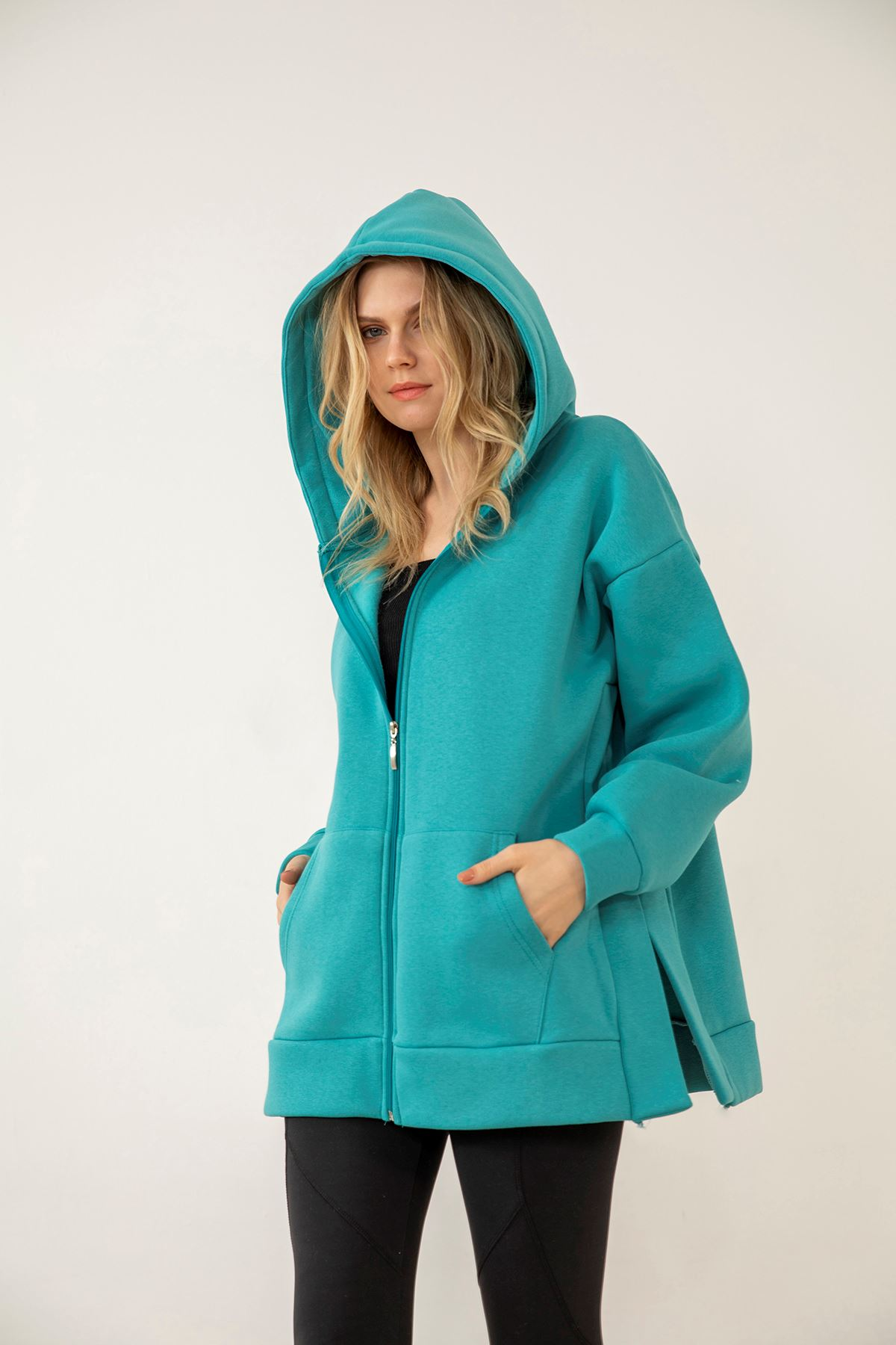 Kapşonlu Fermuarlı Sweatshirt-Mint