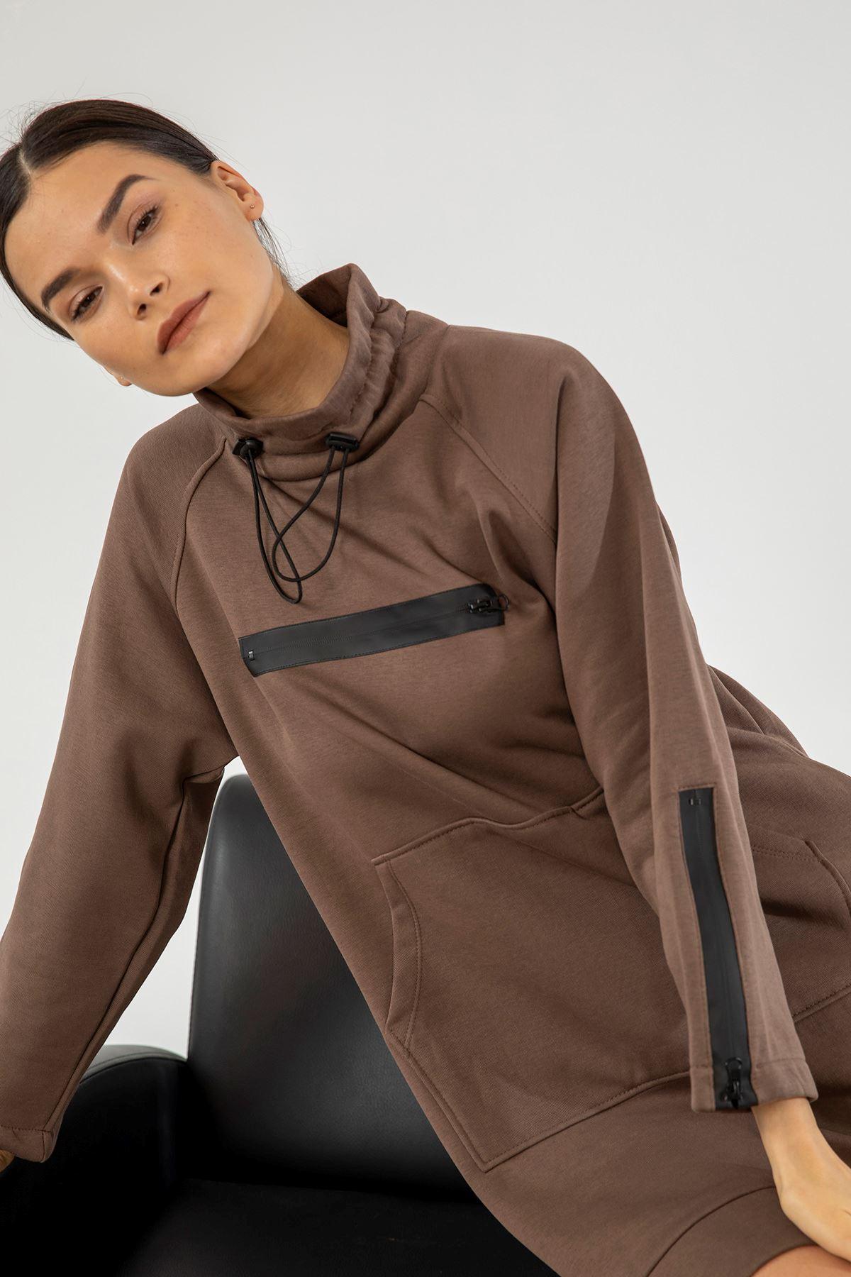 Fermuar Detay Sweatshirt-Kahve