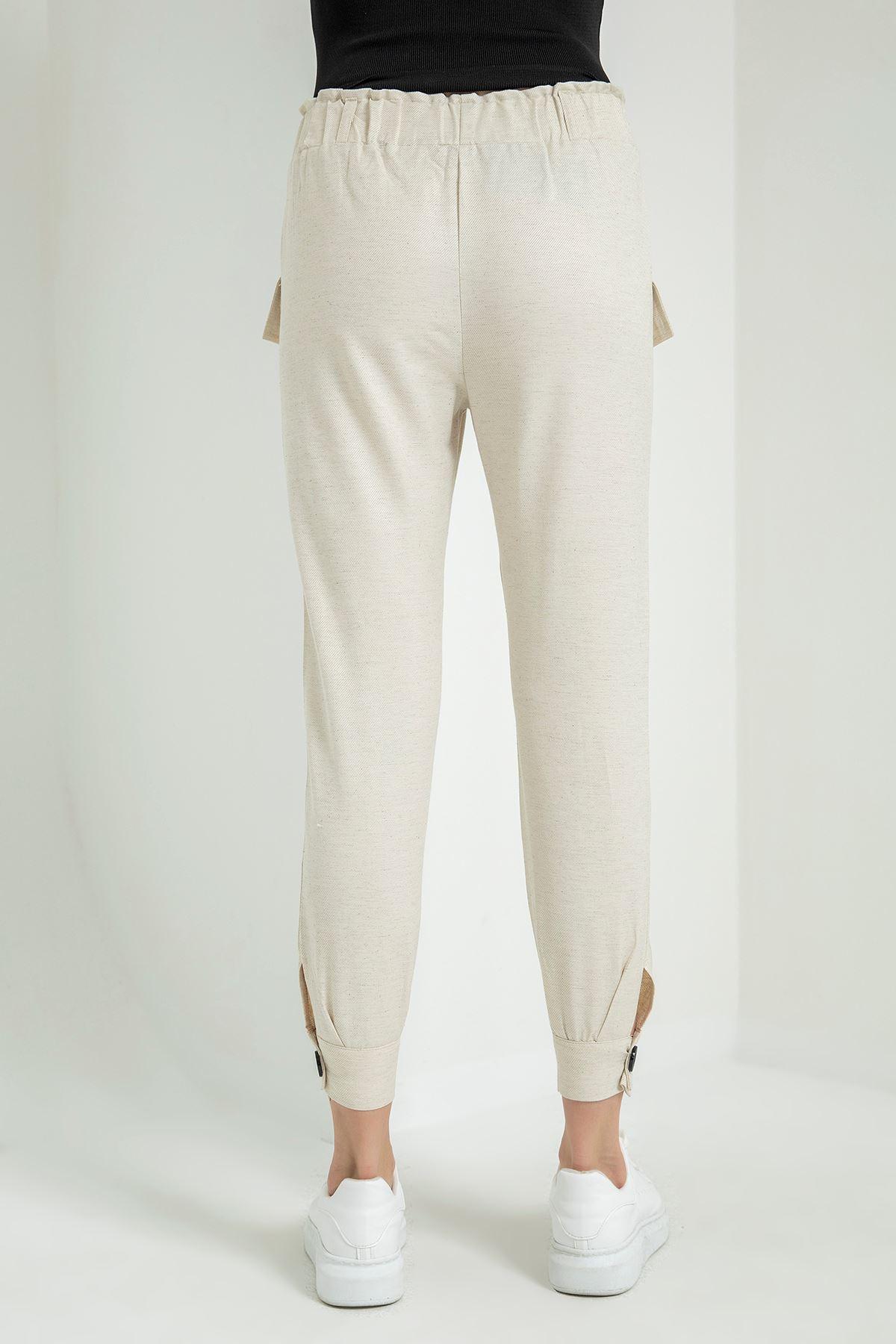 Beli Lastikli Keten Pantolon-Taş