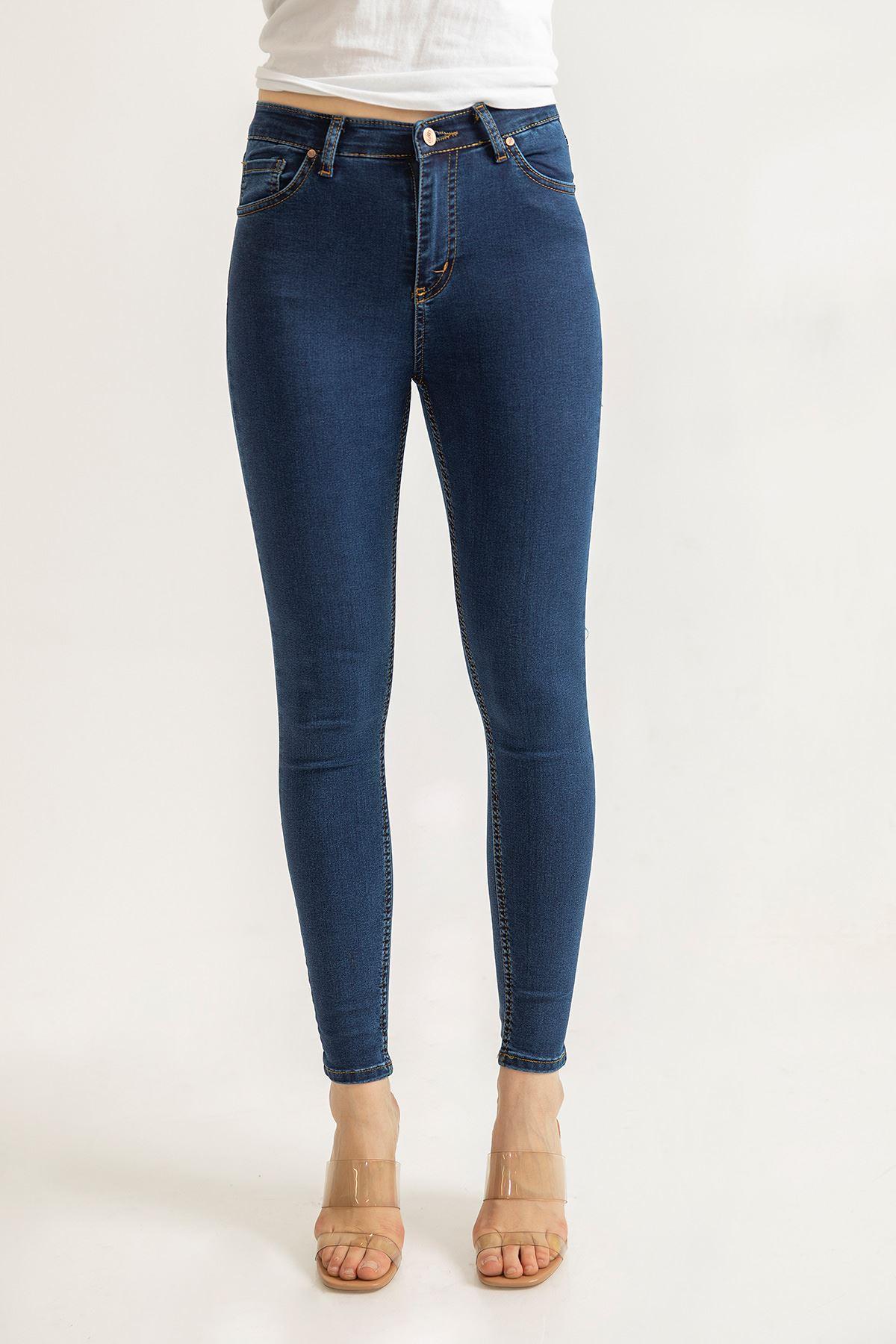 Yüksek Bel Likralı Skinny Jean Pantolon-Koyu Mavi