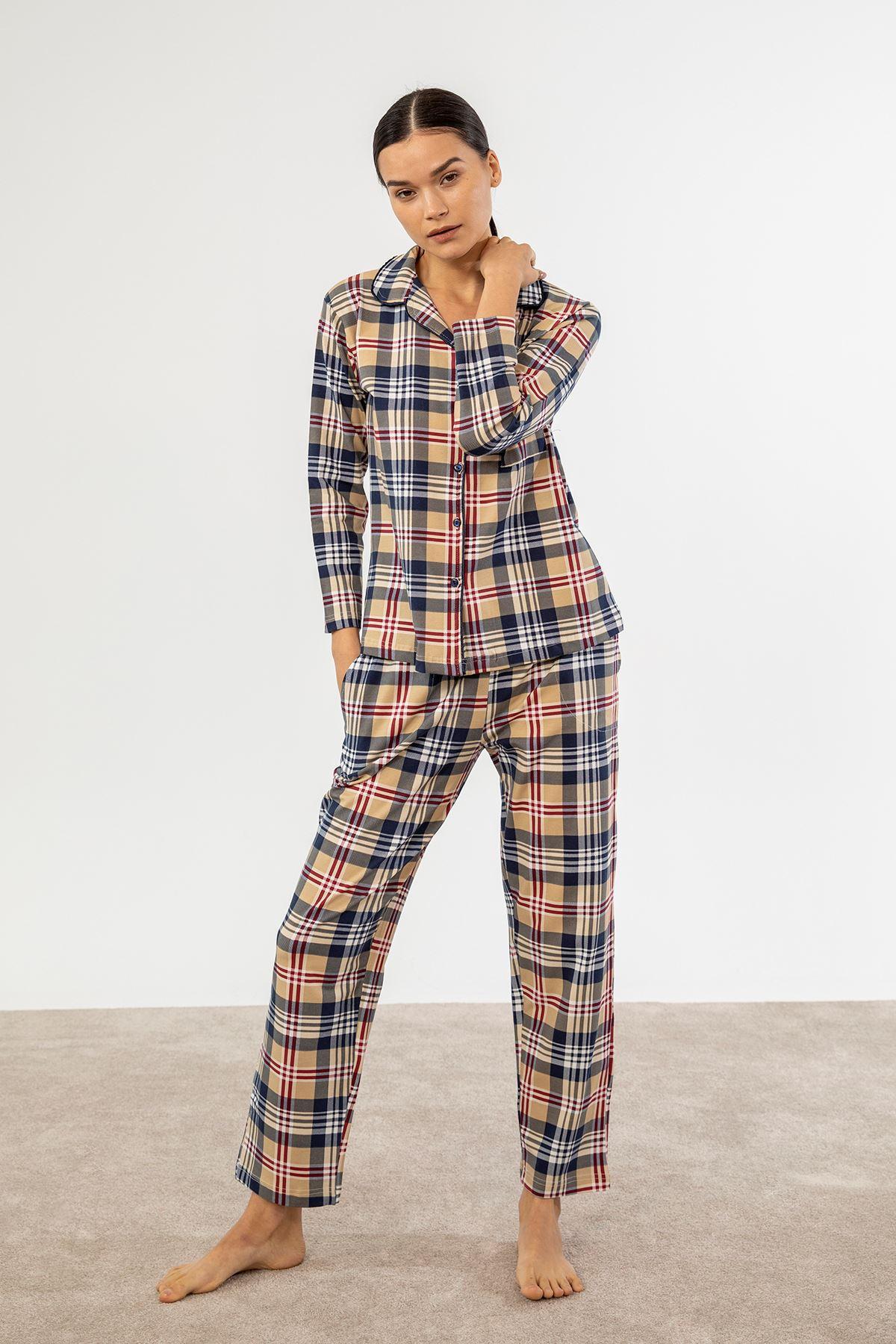 Ekose Pijama Takım-Bej
