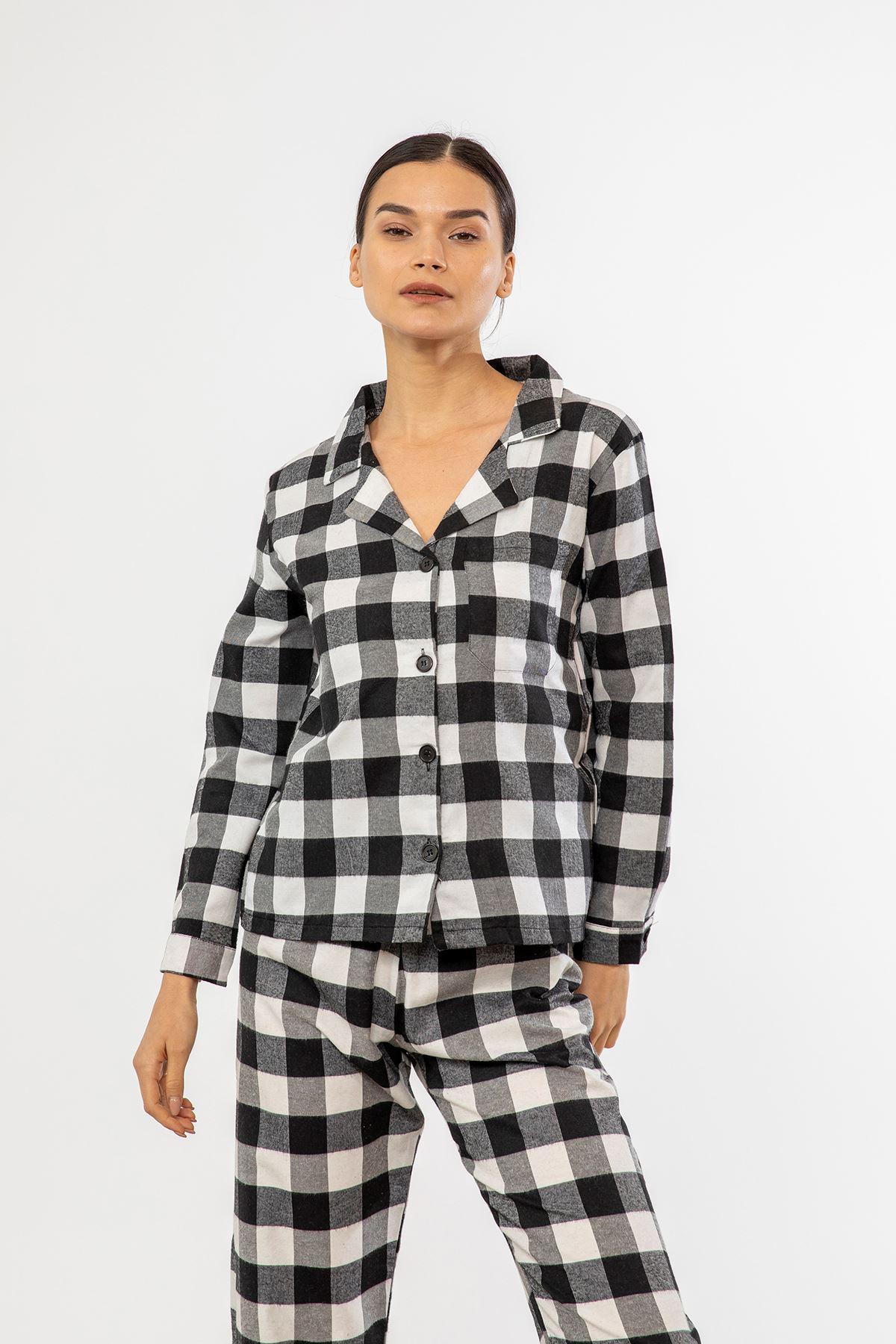 Ekose Pijama Takım-Siyah