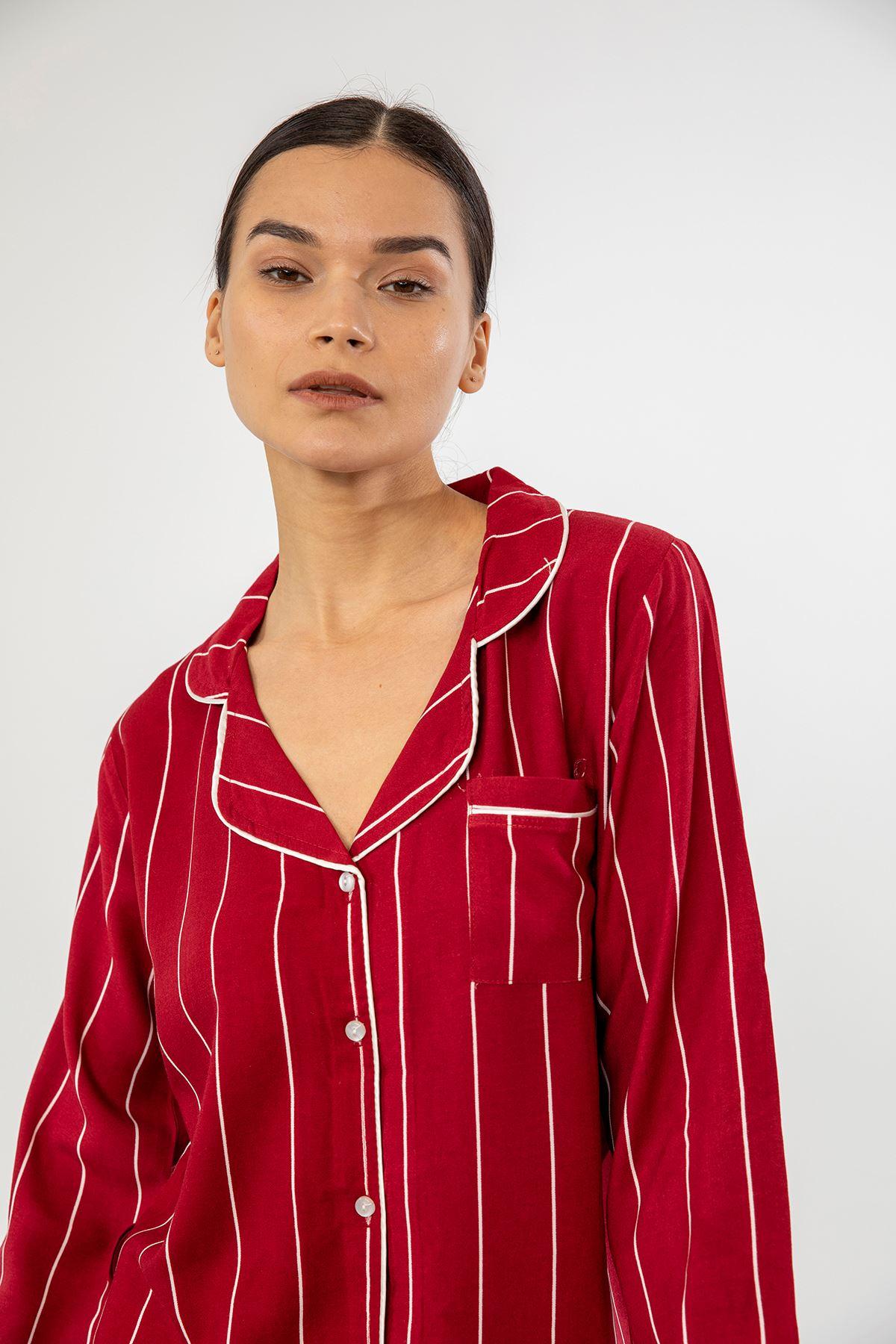 Çizgili Pijama Takımı-Bordo