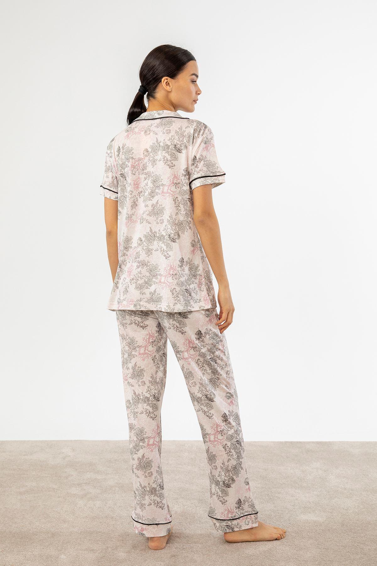 Çiçek Desen Pijama Takım-Pudra