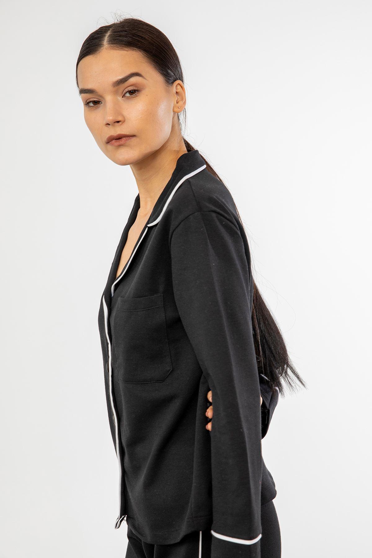 Şeritli Pijama Takım-Siyah