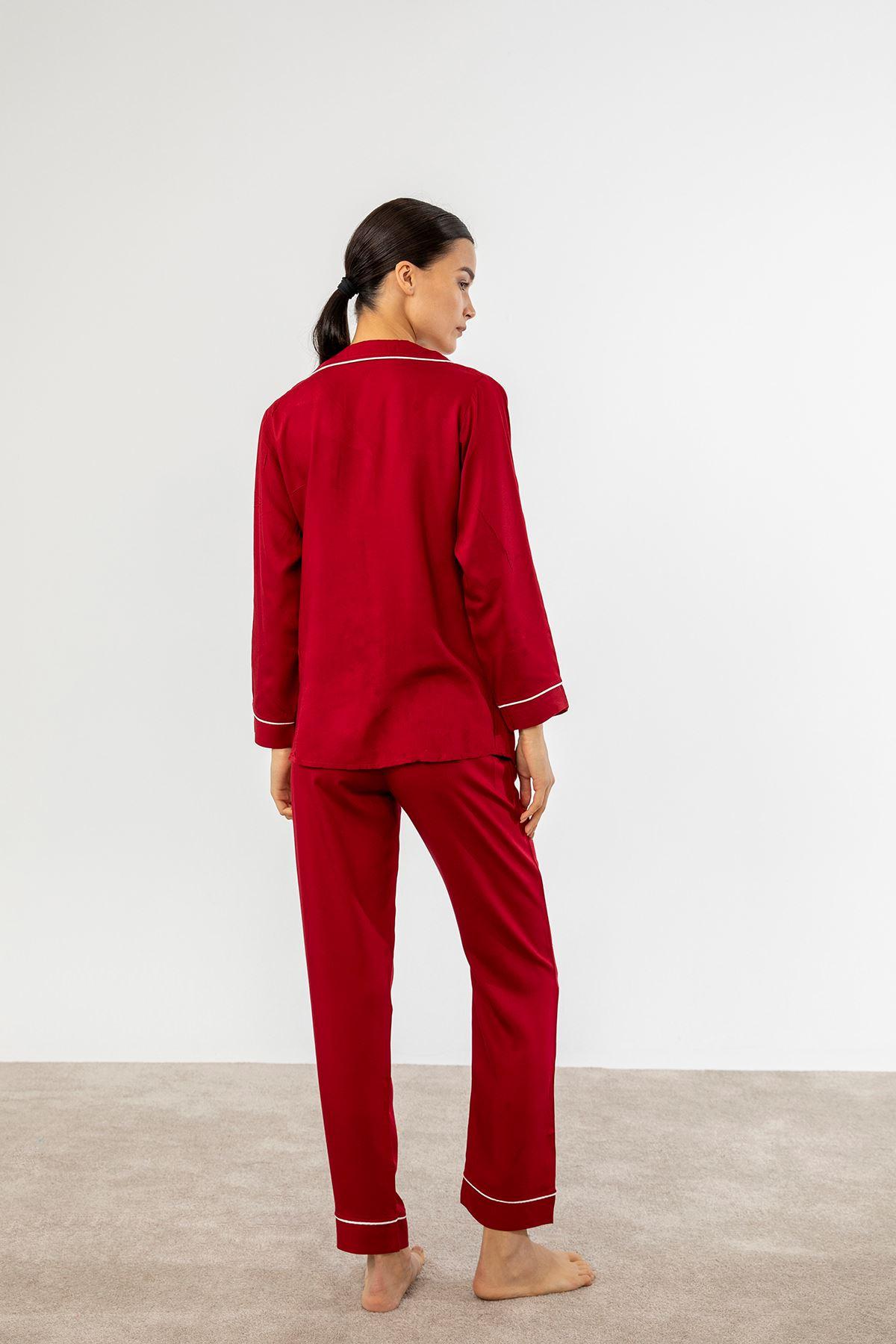 Çizgi Detay Pijama Takım-Bordo