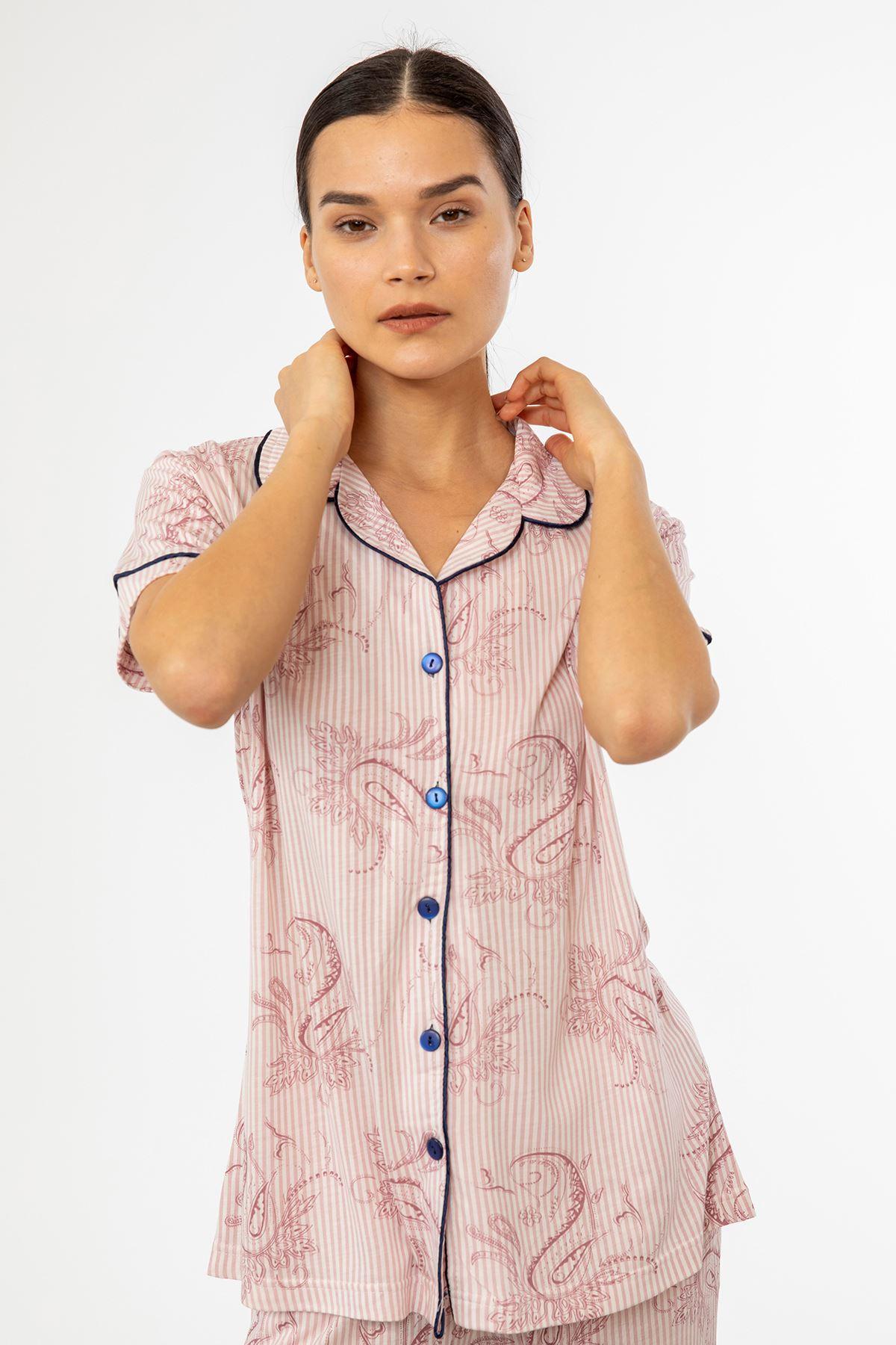 Kısa Kol Şal Desen Pijama Takım-Pudra