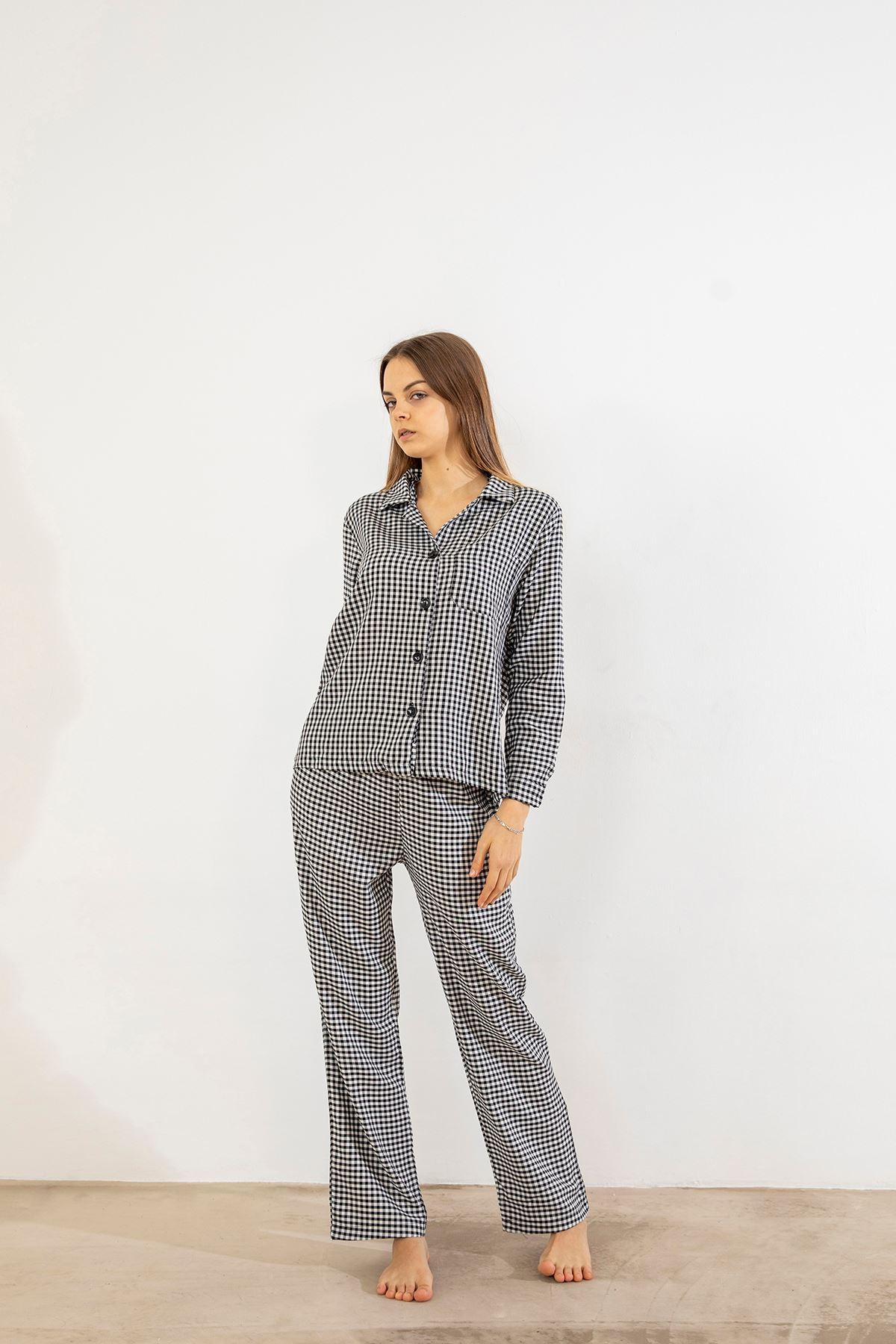 Cepli Pijama Takımı-Siyah